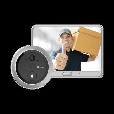 Timbre Con Mirilla y Pantalla Wi-Fi de Batería Recargable / Para Instalarse en Puerta / Cámara 720P / Sensor PIR / Detección de Movimiento / Audio de Dos Vías  /  Uso en Interior