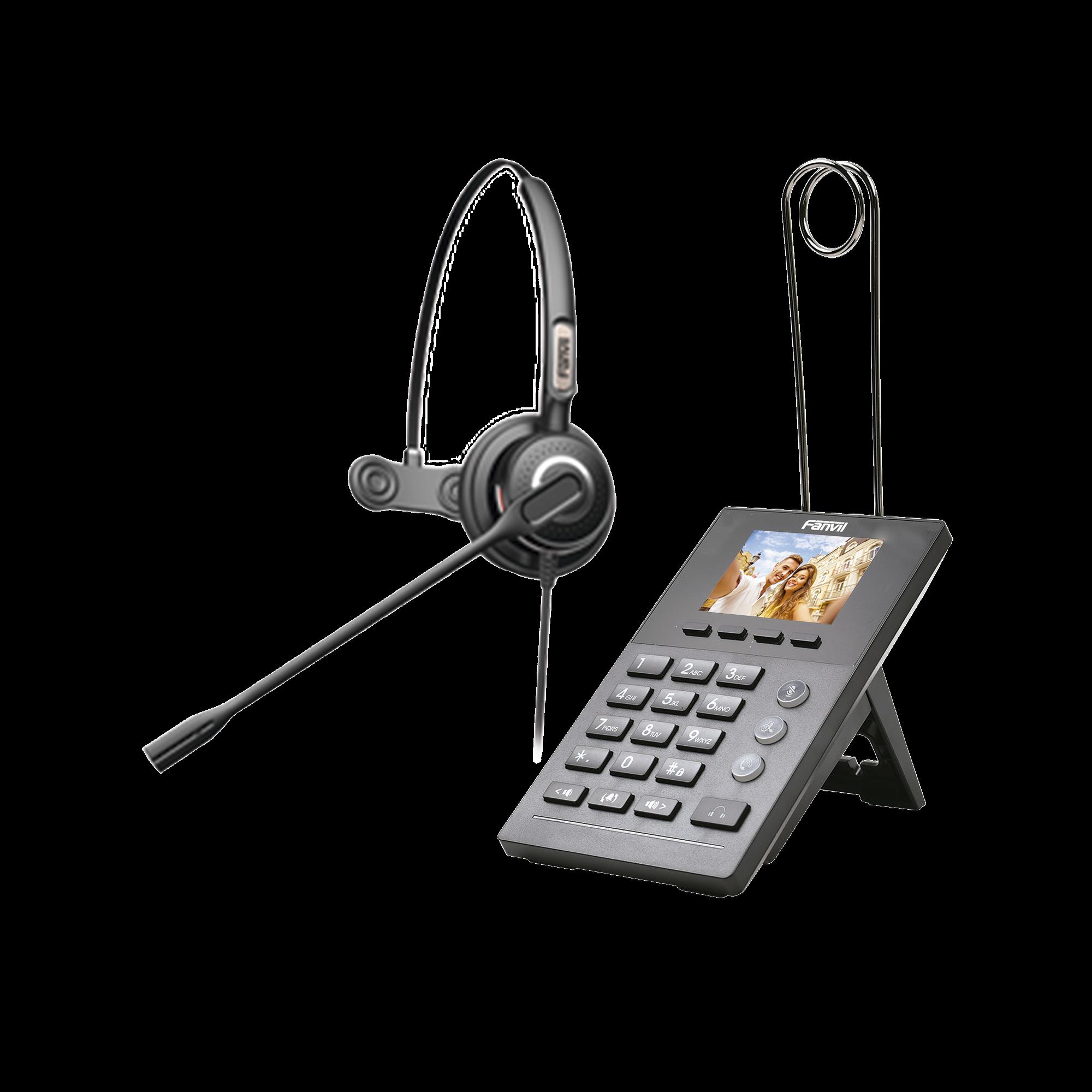 Teléfono IP para Call Center, incluye diadema HT201 y fuente de alimentación.