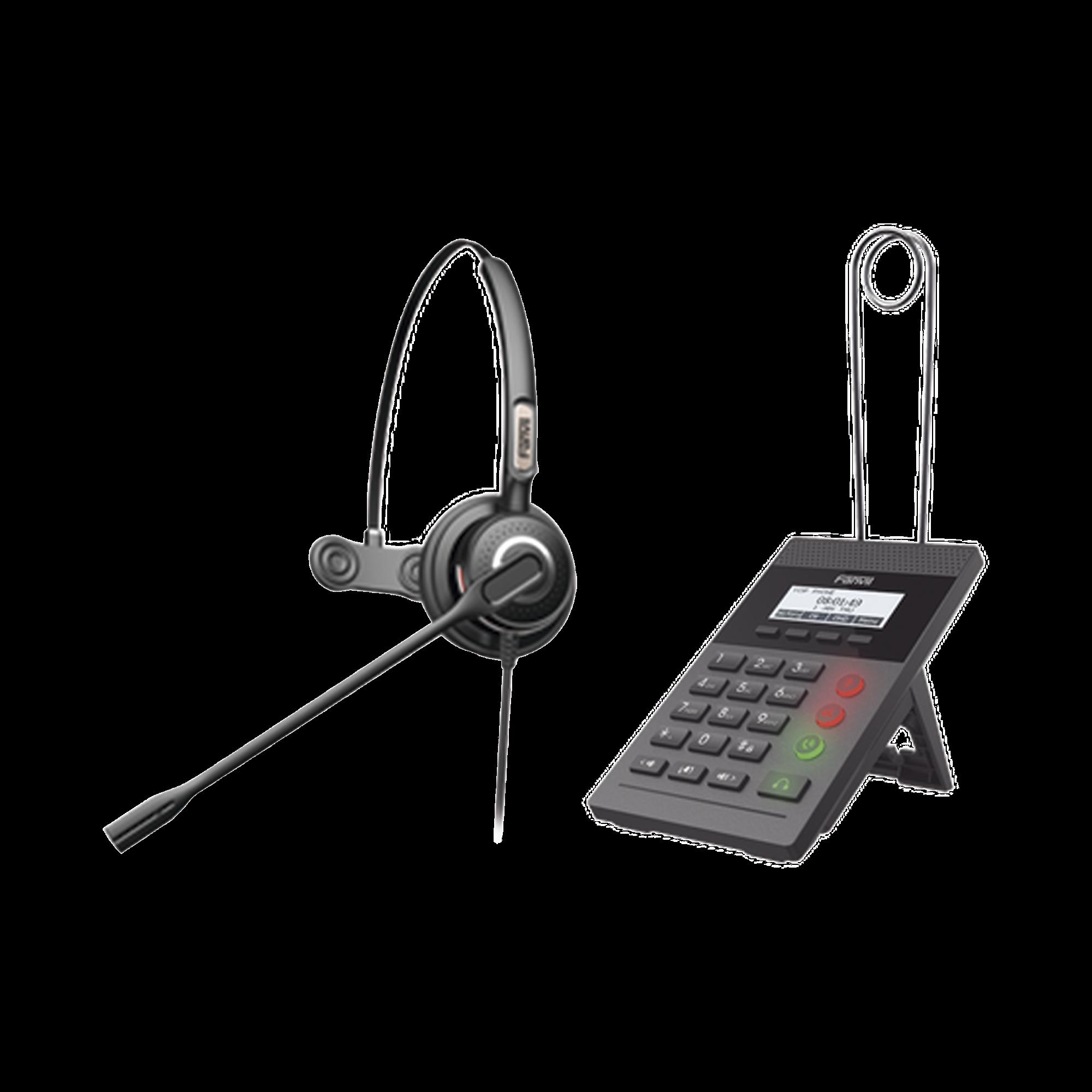 Kit Fanvil para Call Center incluye teléfono IP X2CP Y diadema HT201 y fuente de alimentación.