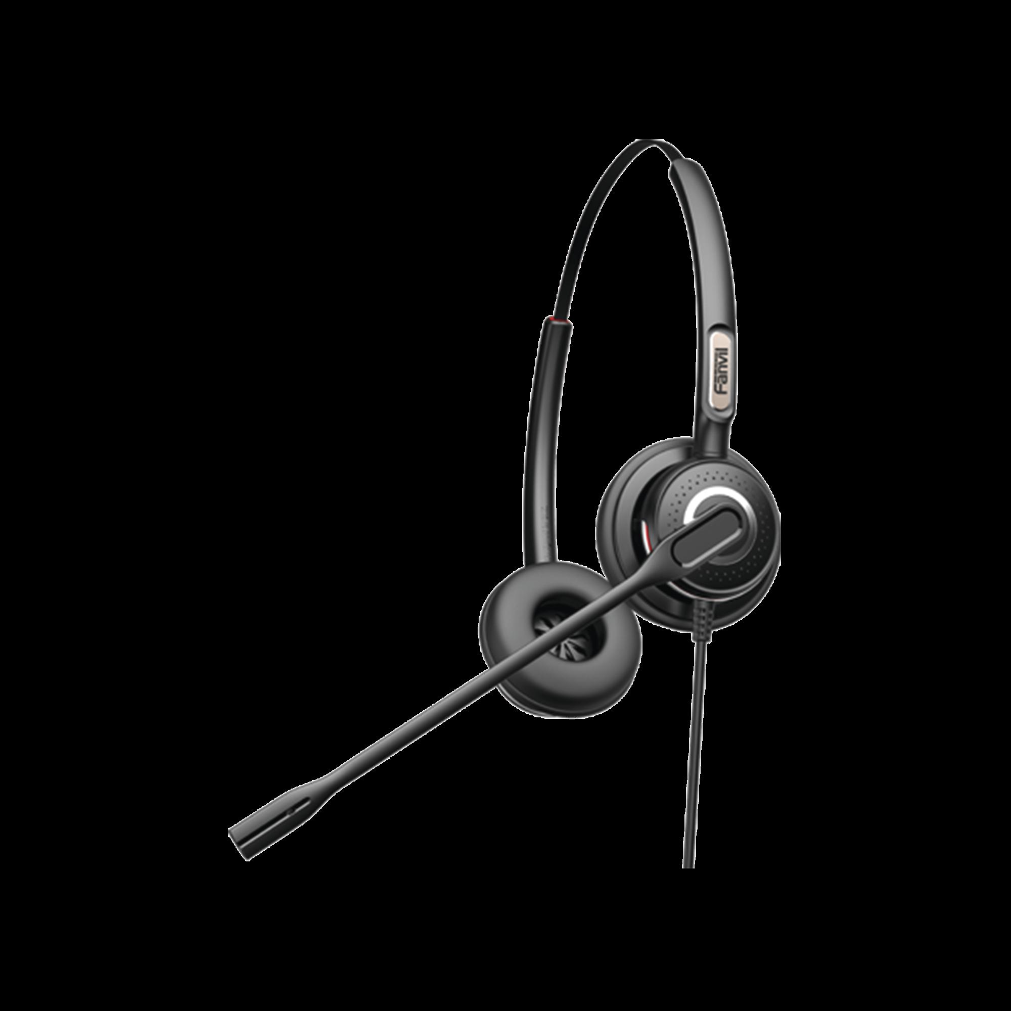 Diadema binaudal (duo) con tecnología antishock para teléfonos IP FANVIL y Polycom con micrófono de cancelación de ruido, larga durabilidad
