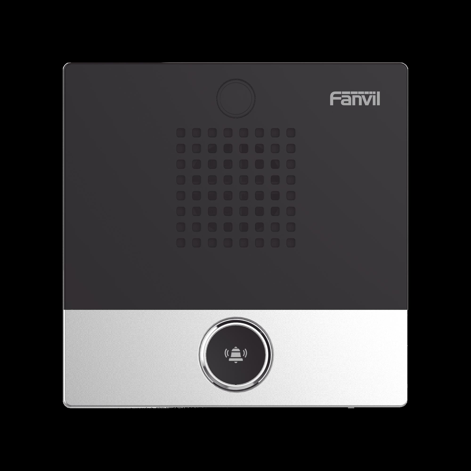 Mini Intercomunicador para hotelería y hospitales, con diseño elegante, PoE, 1 botón, 1 relevador integrado de salida y entrada.