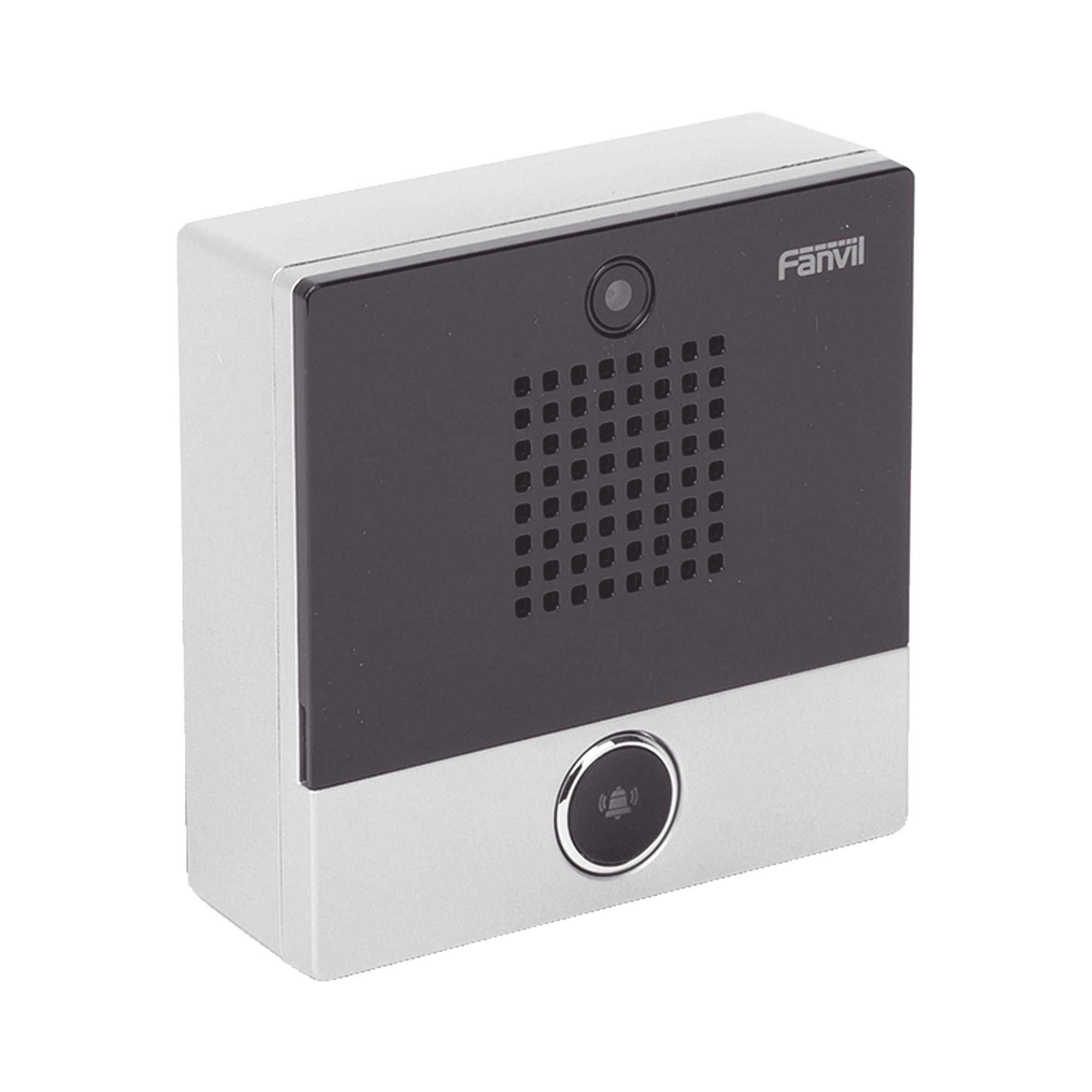 Mini video Intercomunicador para hotelería y hospitales, con diseño elegante, PoE, cámara 1Mpx, 1 botón, 1 relevador integrado de salida y entrada.