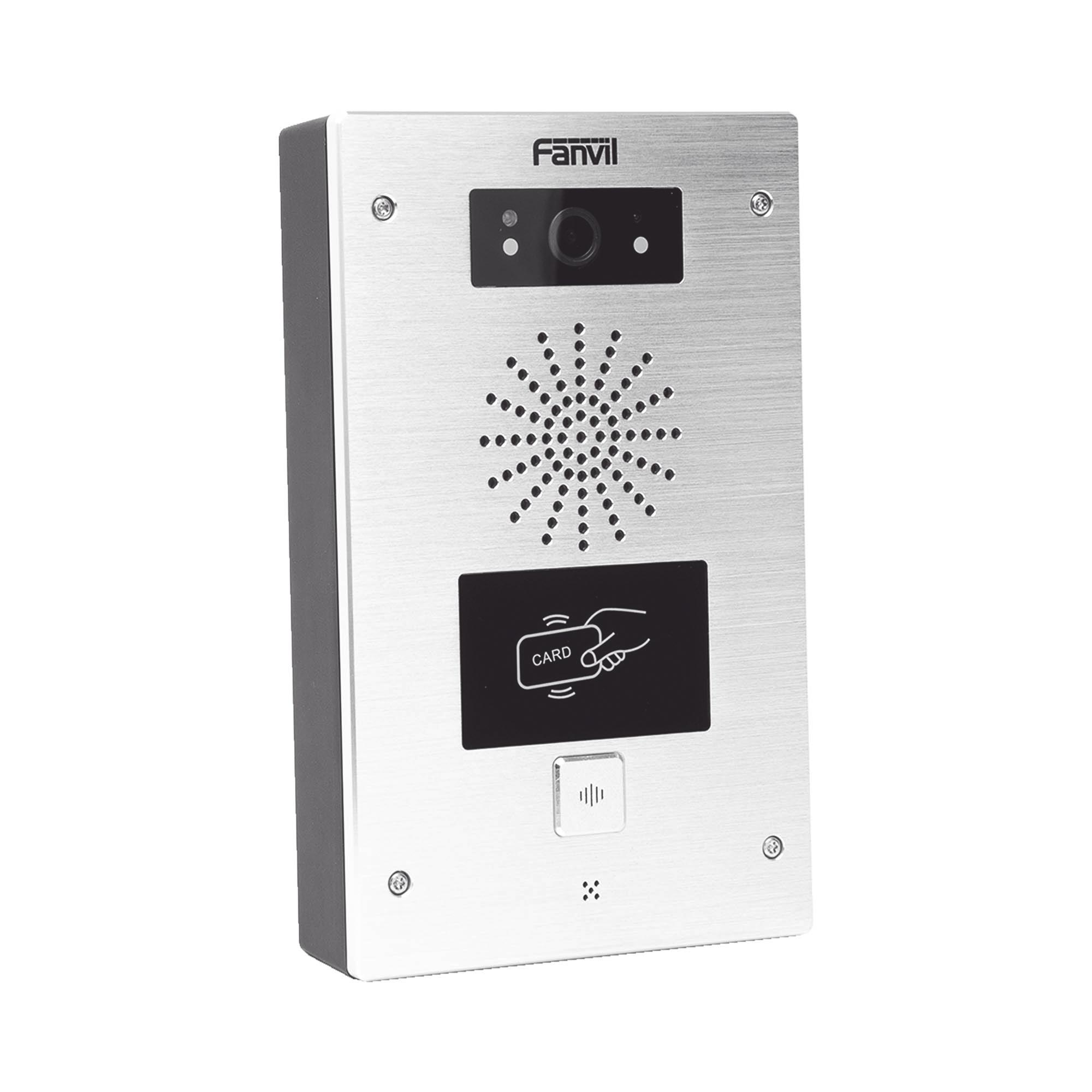 Video portero IP, 2 lineas SIP, 2 relevadores, lector de tarjeta RFID, Onvif, con boton para llamada, anti-vandalico, PoE, IP65 e IK10, PoE