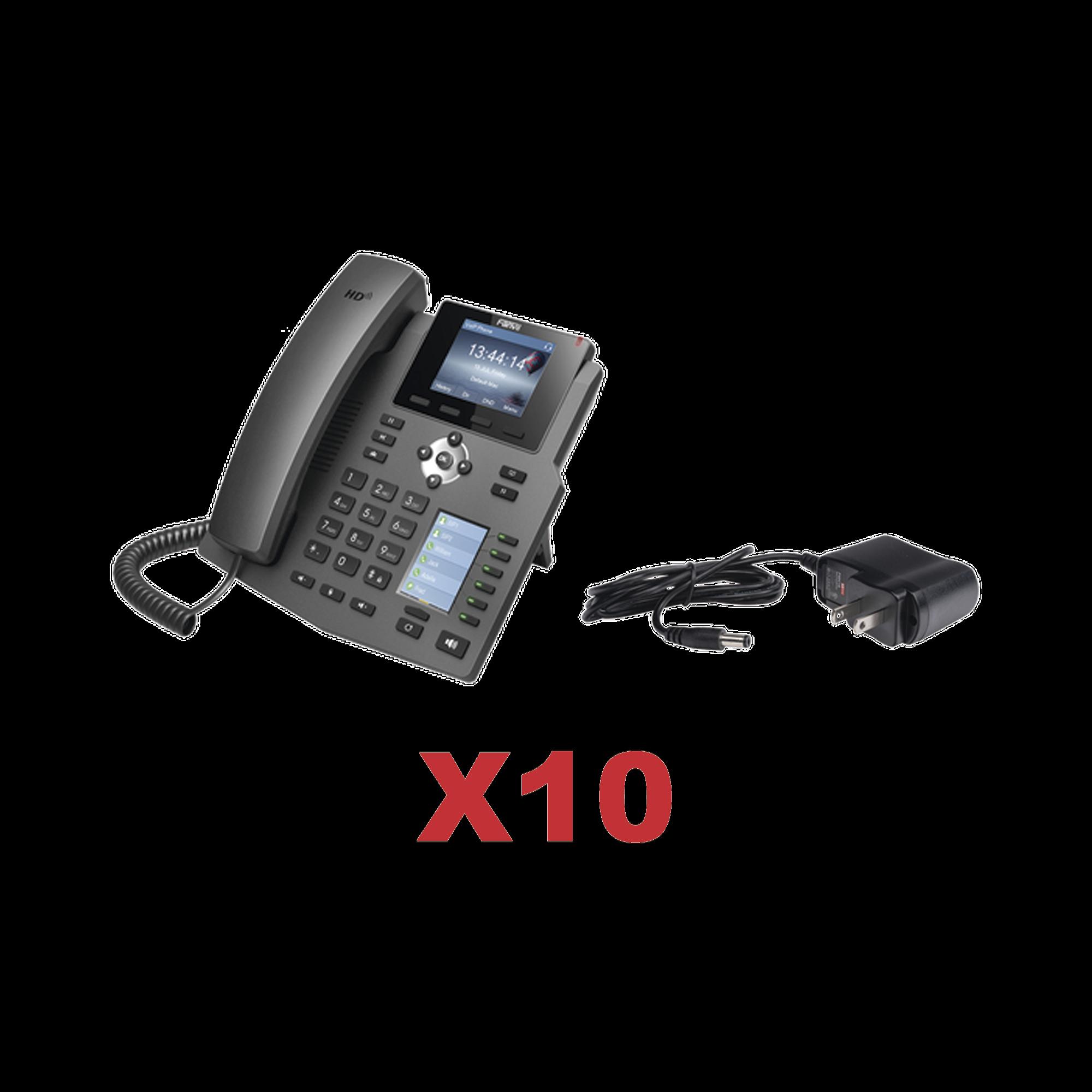 Kit de 10 telefonos Empresariales con pantalla a color, botonera de hasta 30 contactos, incluyen fuente de alimentacion y son PoE