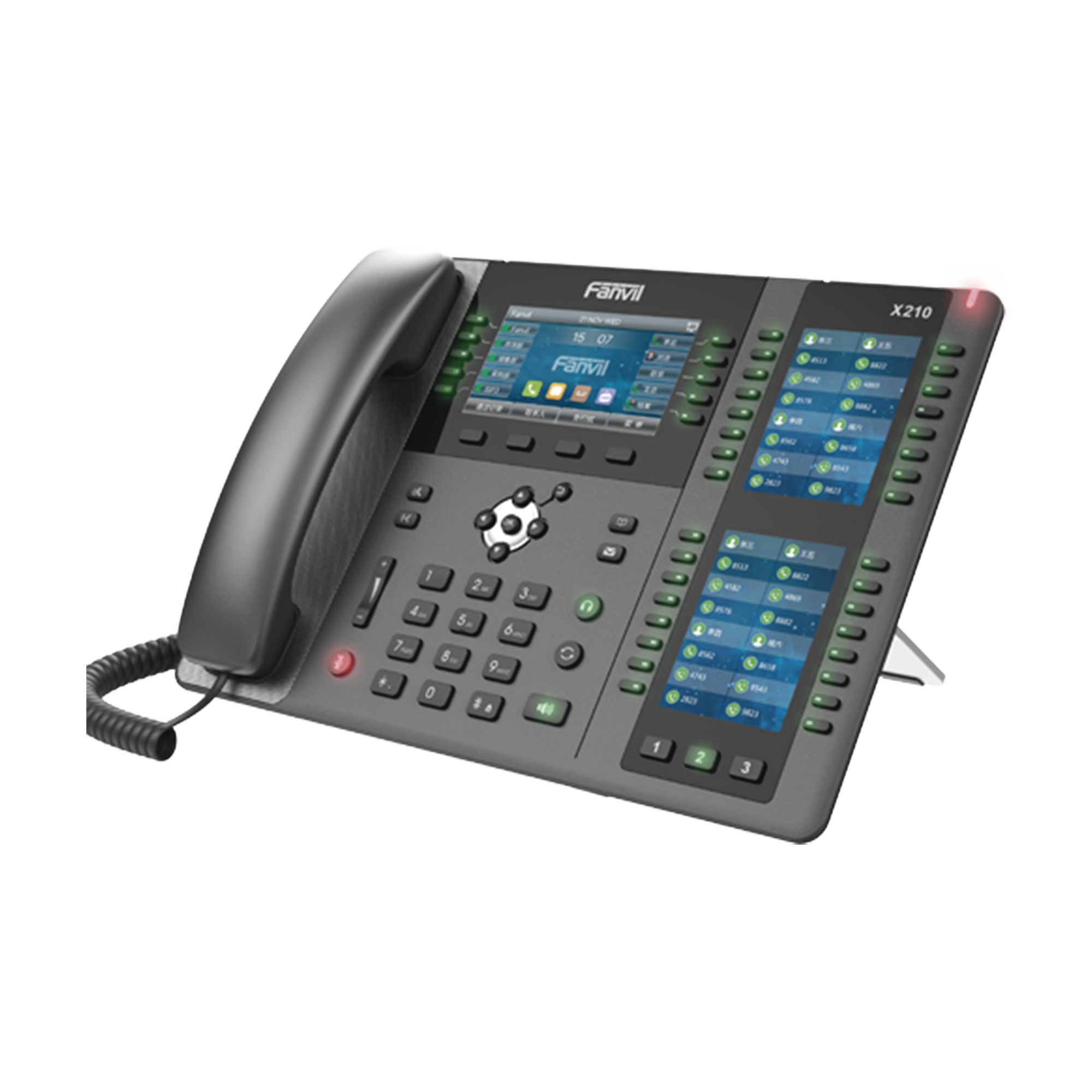 Telefono empresarial IP hasta 20 lineas SIP, 106 botones DSS, con Bluetooth integrado para diademas, puertos Gigabit, soporta recepcion video, PoE