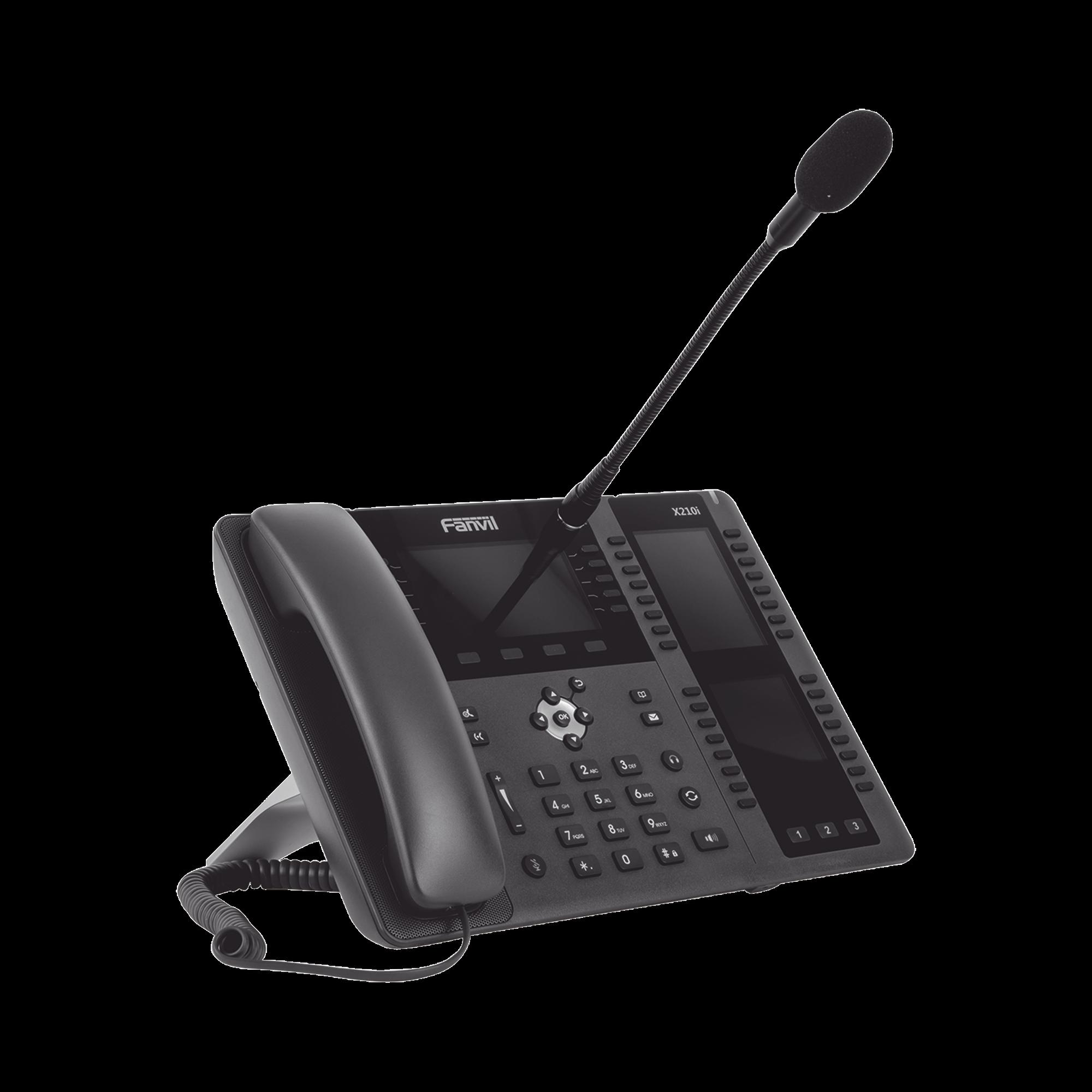 Teléfono empresarial IP hasta 20 lineas SIP, micrófono exterior, 106 botones DSS, Bluetooth integrado para diademas, puertos Gigabit, soporta recepción video, PoE