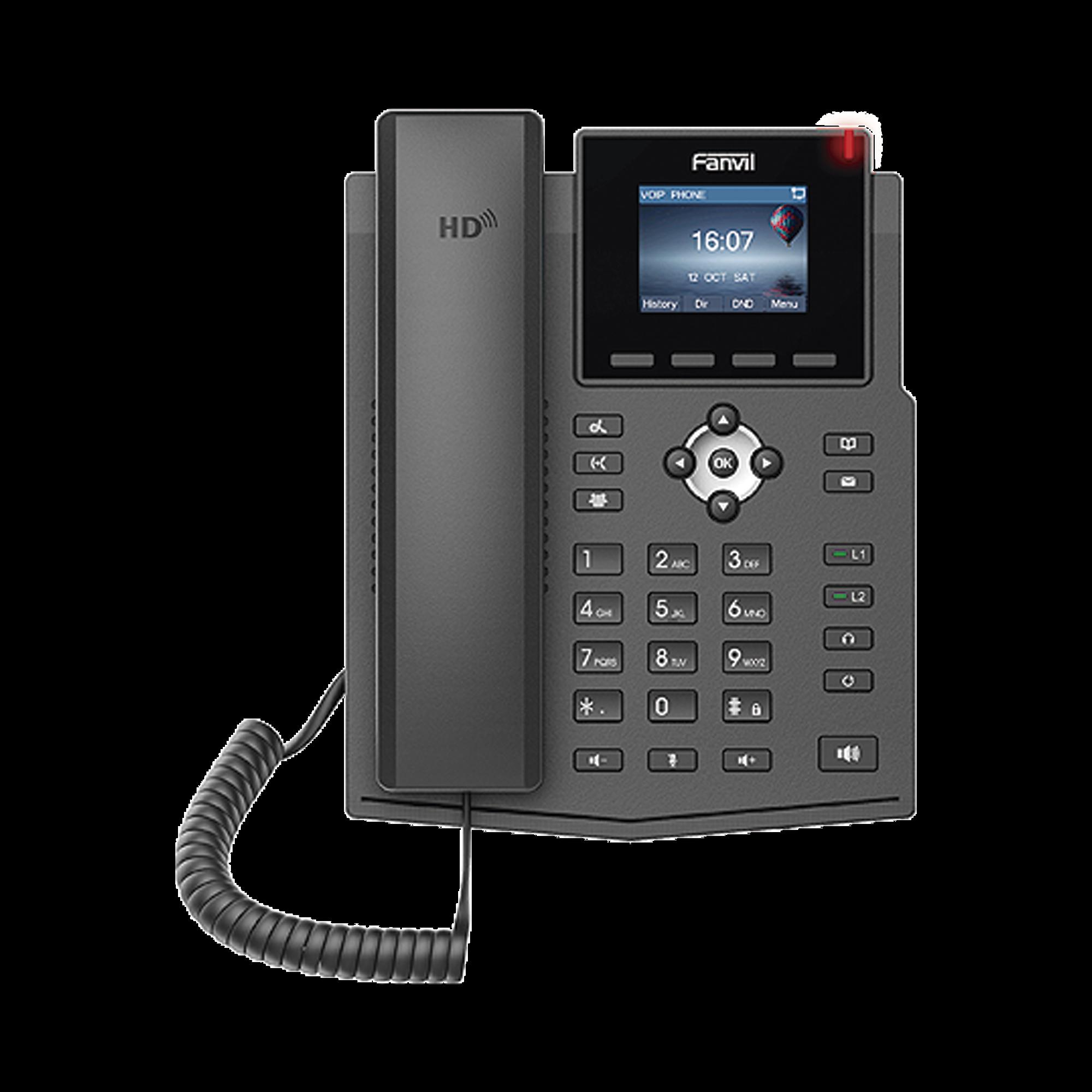 Teléfono IP empresarial para 4 líneas SIP con pantalla LCD de 2.8 pulgadas a color, Opus y conferencia de 3 vías, PoE.