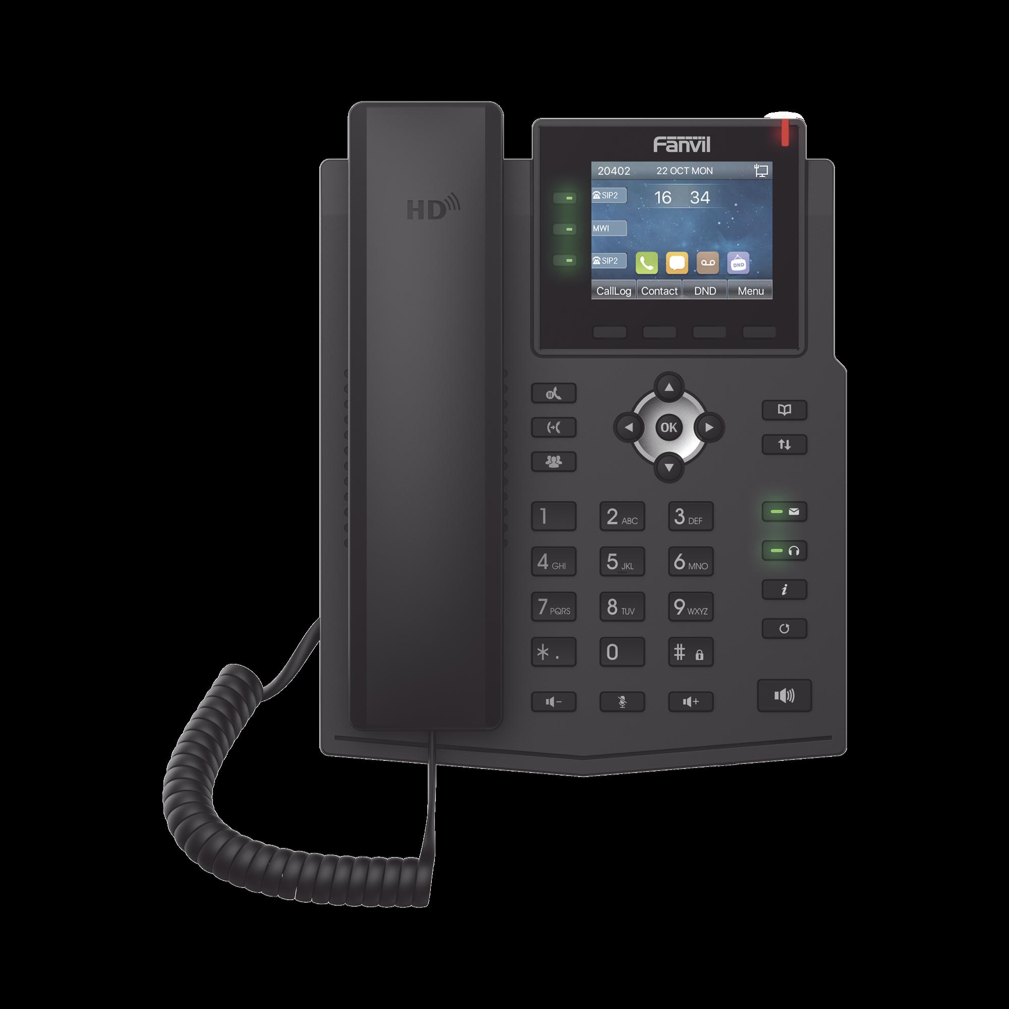 Teléfono IP Empresarial con Estándares Europeos, 6 lineas SIP con pantalla LCD a color, puertos Gigabit, IPv6, Opus y conferencia de 3 vías, PoE/DC (incluye fuente).