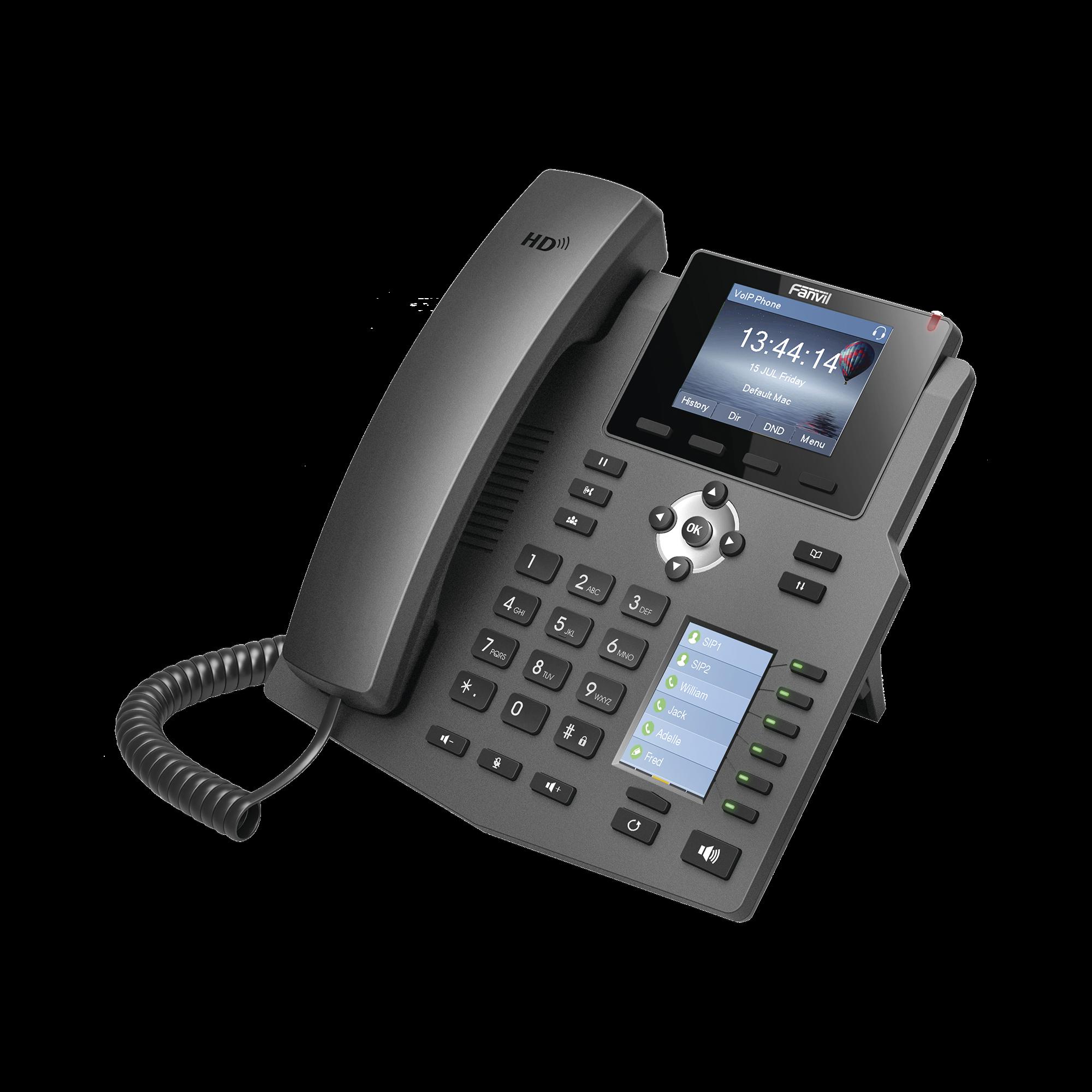 Teléfono IP empresarial para 4 líneas SIP con 2 pantallas LCD, 6 teclas BLF/DSS, conferencia de 3 vías, PoE