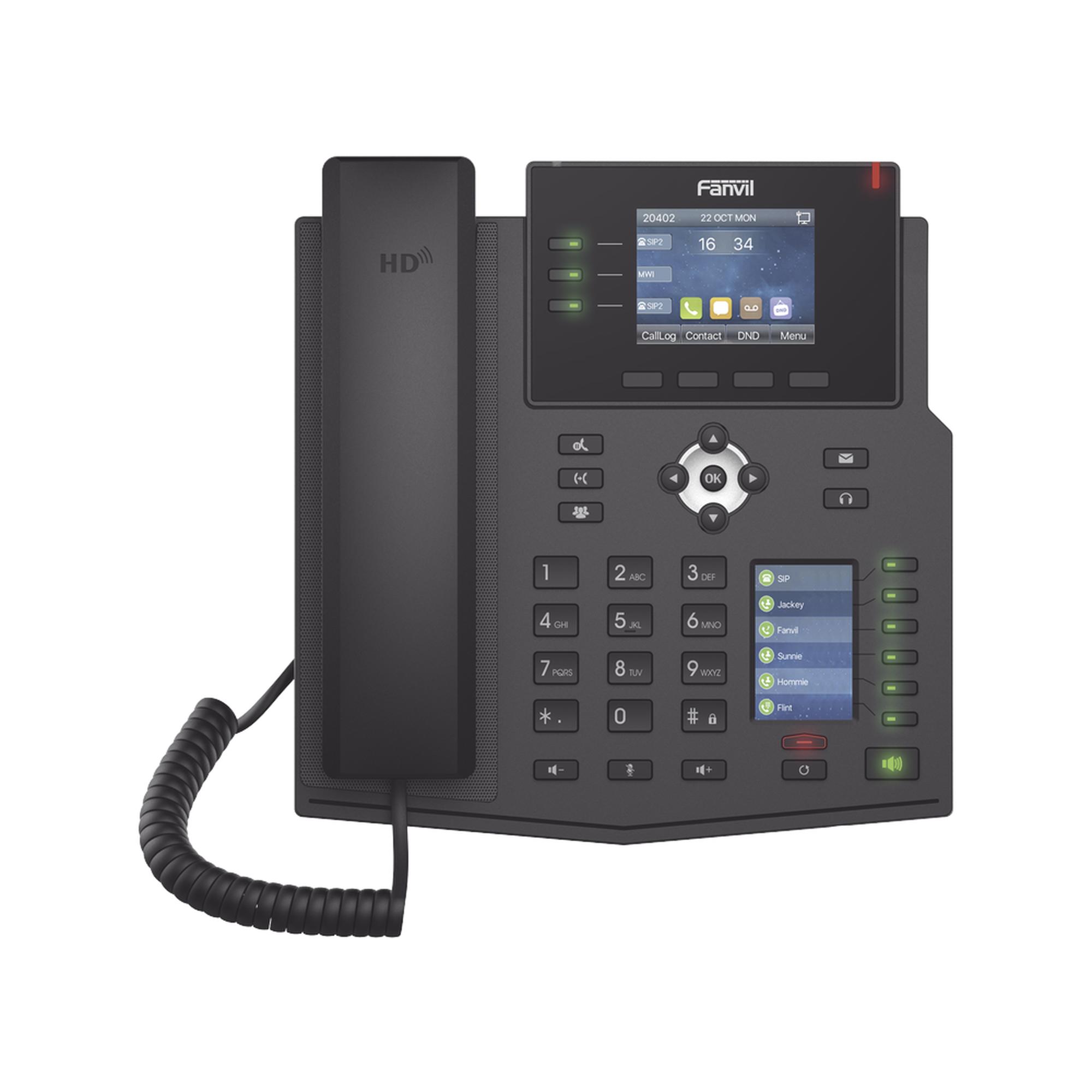 Teléfono IP Empresarial con Estándares Europeos, 12 lineas SIP con pantalla a color, 30 teclas DSS/BLF, puertos Gigabit, IPv6, Opus y conferencia de 3 vías, PoE/DC (incluye fuente).