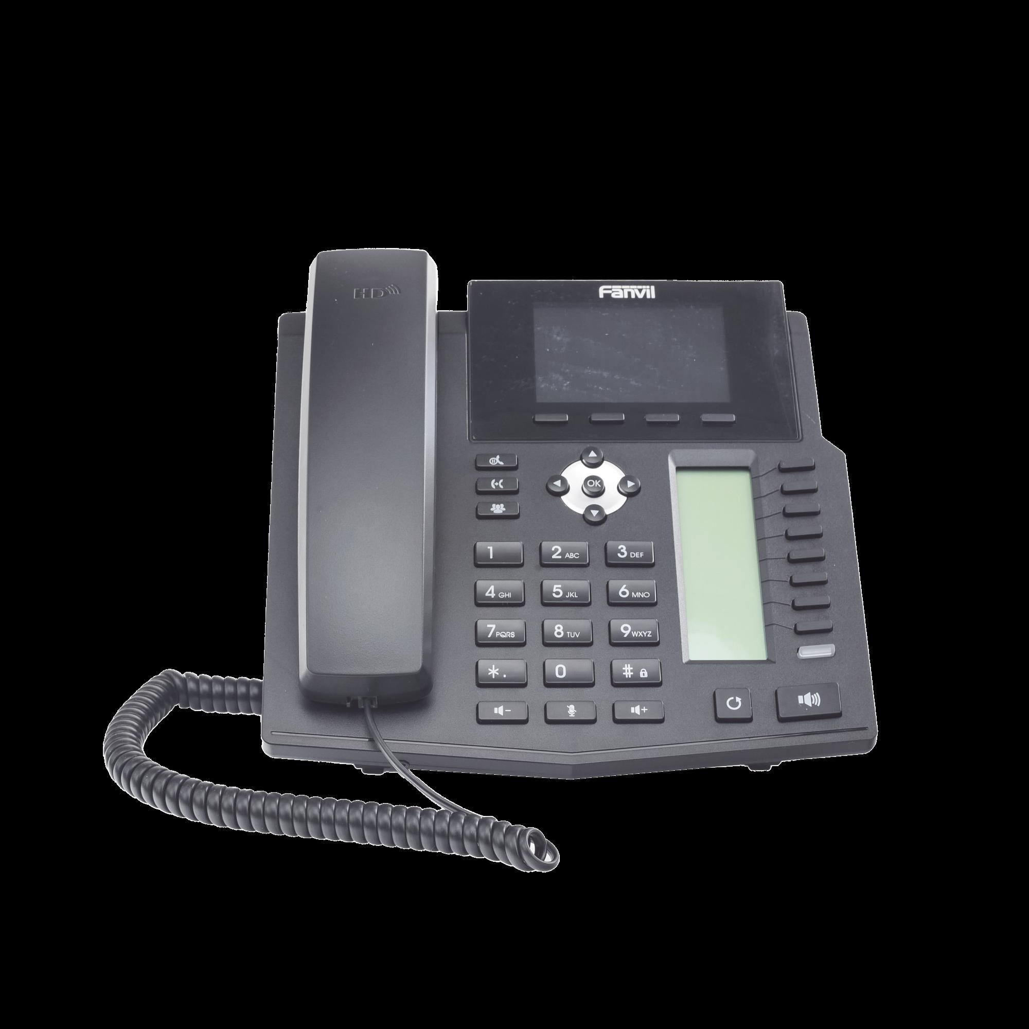 Teléfono IP empresarial para 16 lineas SIP con 2 pantallas LCD a Color, 8 teclas BLF/DSS y conferencia de 3 vías, PoE