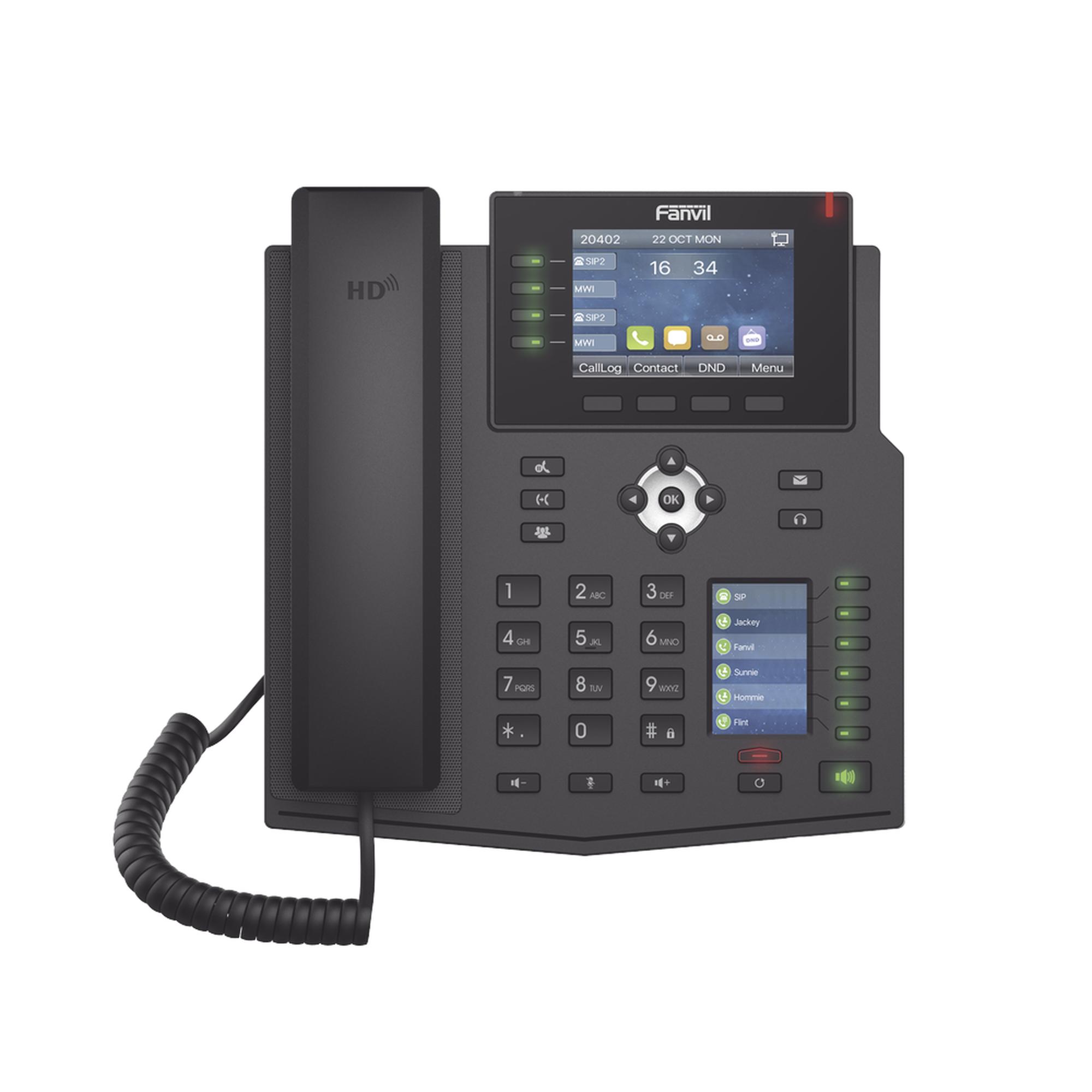 Teléfono IP Empresarial con Estándares Europeos, 16 lineas SIP con pantalla LCD a color, 30 teclas DSS/BLF, puertos Gigabit, IPv6, Opus y conferencia de 3 vías, PoE/DC (incluye fuente).