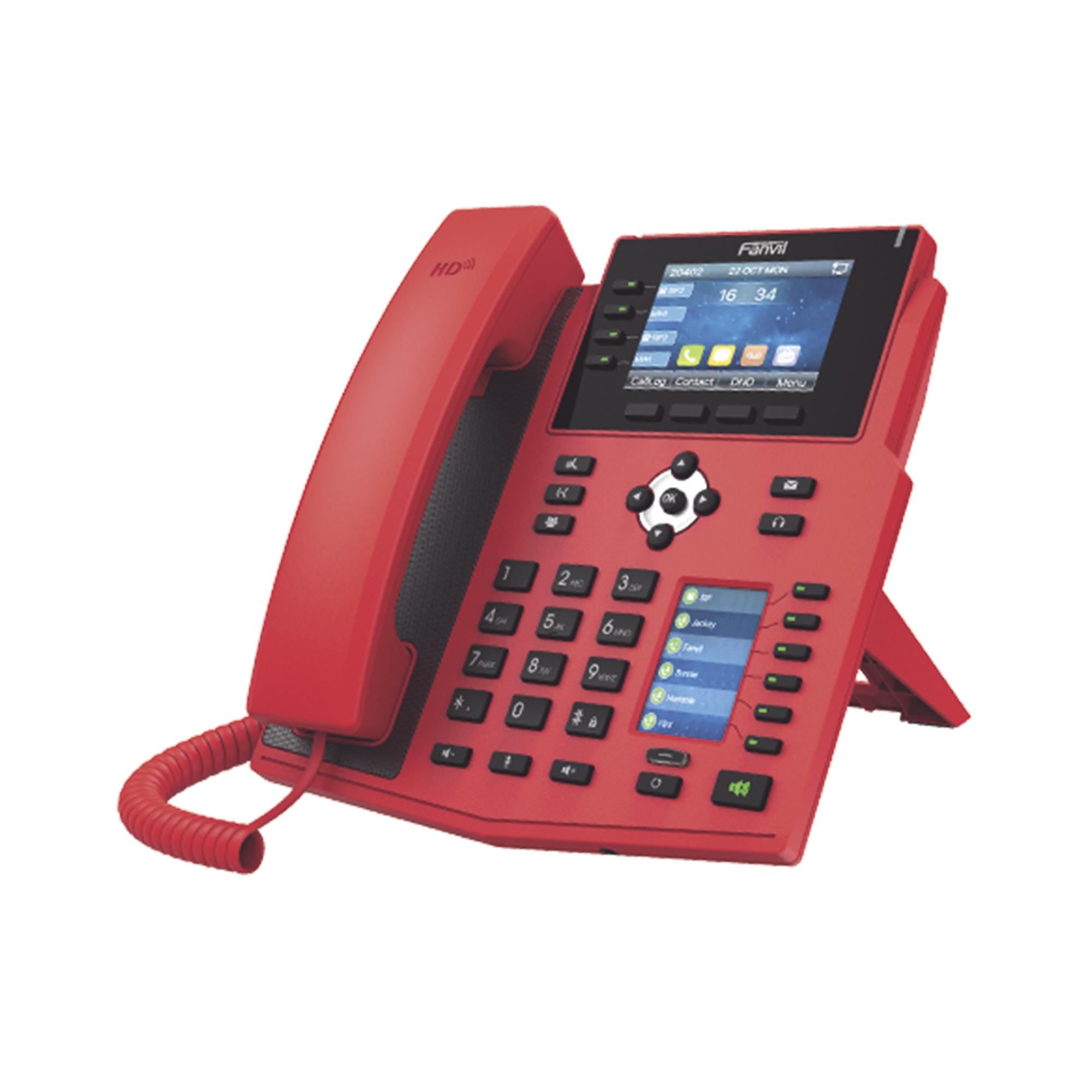 Teléfono IP Empresarial con Estándares Europeos, 16 lineas SIP con pantalla LCD de 3.5 pulgadas a color, 6 teclas DSS/BLF, puertos Gigabit, IPv6, Opus y conferencia de 3 vías, PoE/DC (incluye fuente).