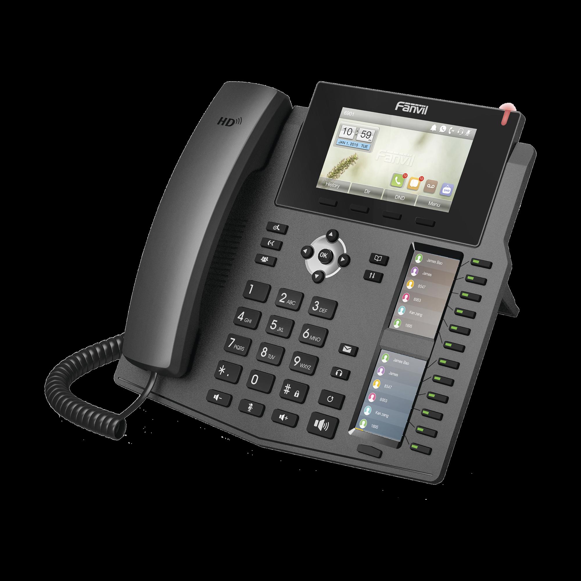 Teléfono IP empresarial para 20 líneas SIP, Voz HD, 3 Pantallas LCD a Color, 12 teclas BLF, PoE