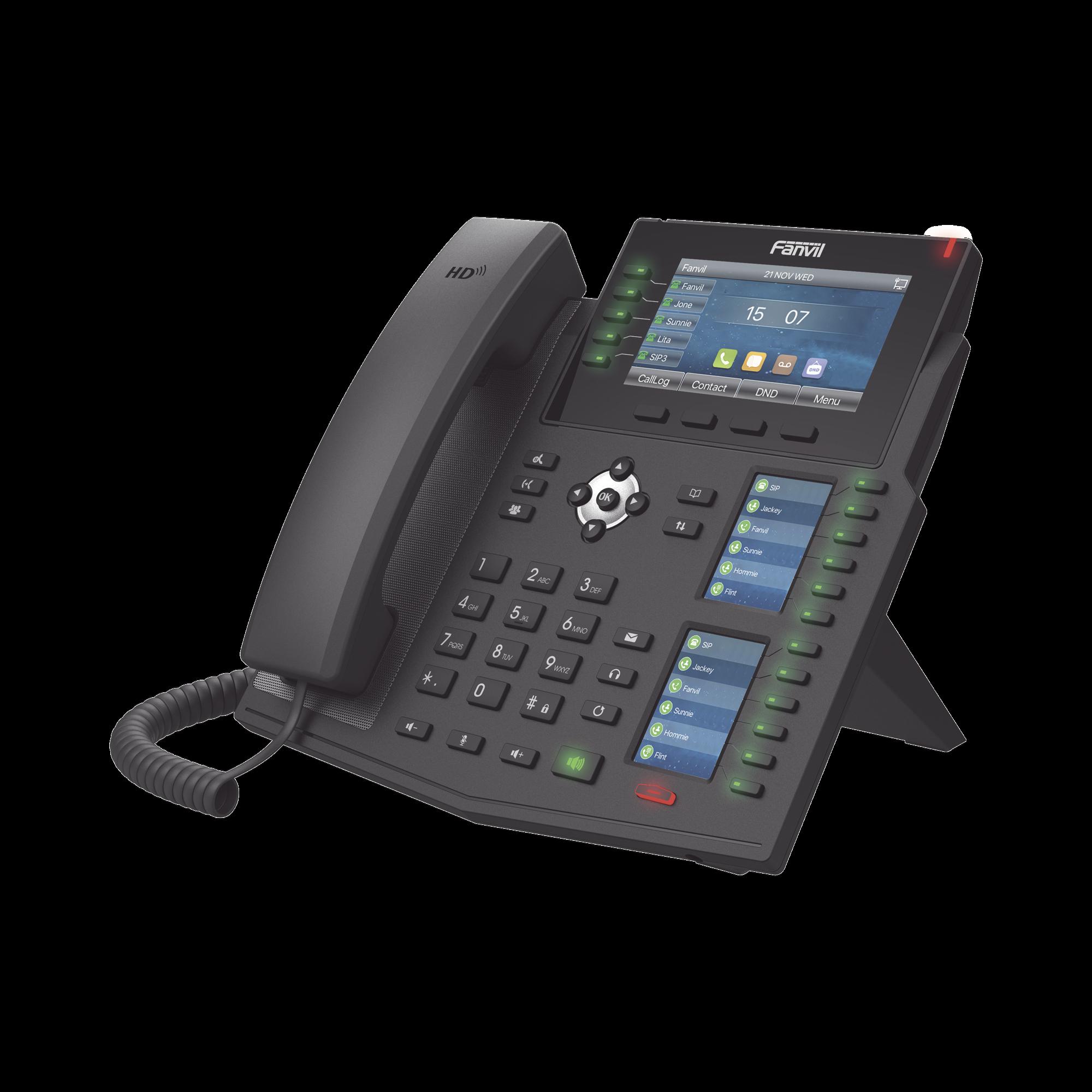Teléfono IP Empresarial con Estándares Europeos, 20 lineas SIP con pantalla LCD a color, 60 teclas DSS/BLF, puertos Gigabit, IPv6, Opus y conferencia de 3 vías, PoE/DC (incluye fuente).