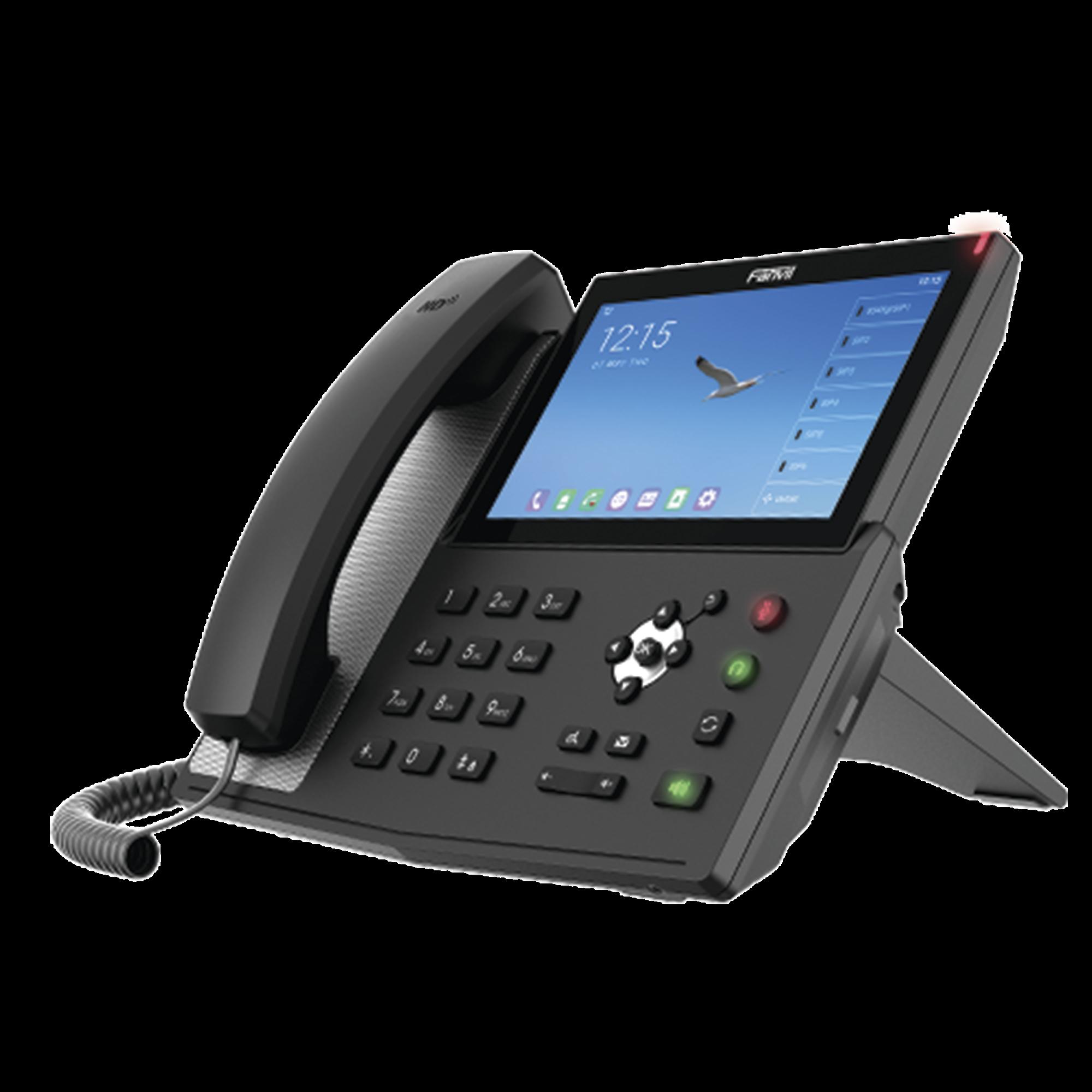 Teléfono IP  Android Empresarial para 20 lineas SIP, pantalla táctil, Wi-Fi y Bluetooth, PoE, hasta 112 botones DSS, puertos Gigabit, soporta recepcion de video.