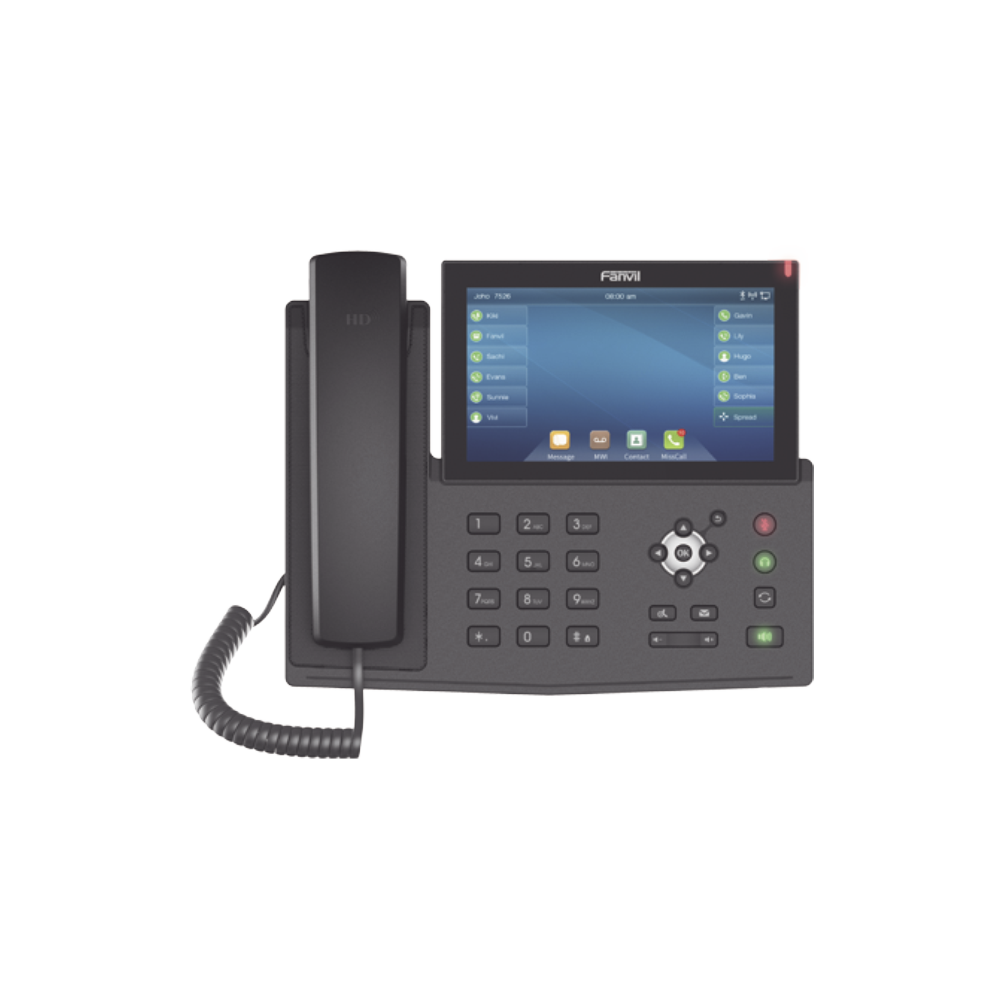 Teléfono IP empresarial para 20 lineas SIP, pantalla táctil, Bluetooth integrado para diadema, PoE y hasta 127 botones DSS con doble puerto Gigabit, soporta recepción de video
