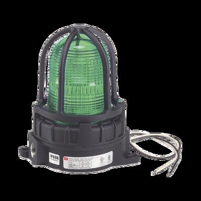 Luz de advertencia LED para ubicaciónes peligrosas, montaje para superficies, 24Vcd, verde