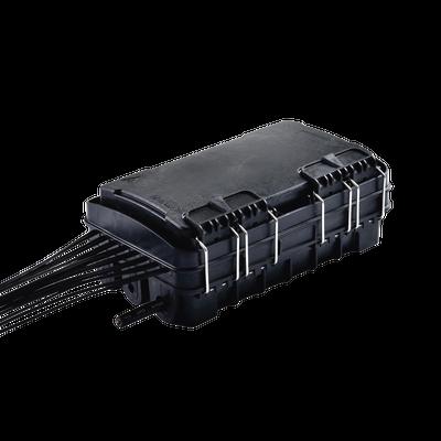 Caja de Distribución de Fibra Óptica para 24 Empalmes, con 16 acopladores SC/APC simplex, Exterior IP65, Color Negro
