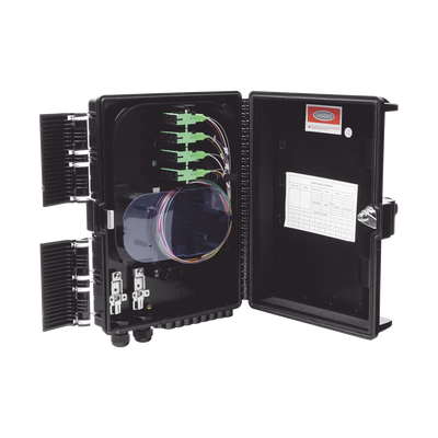 Cierre de Empalme para 24 fusiones de fibra óptica, Interior/Exterior, con 16 acopladores SC/APC y splitter 1x16, IP65