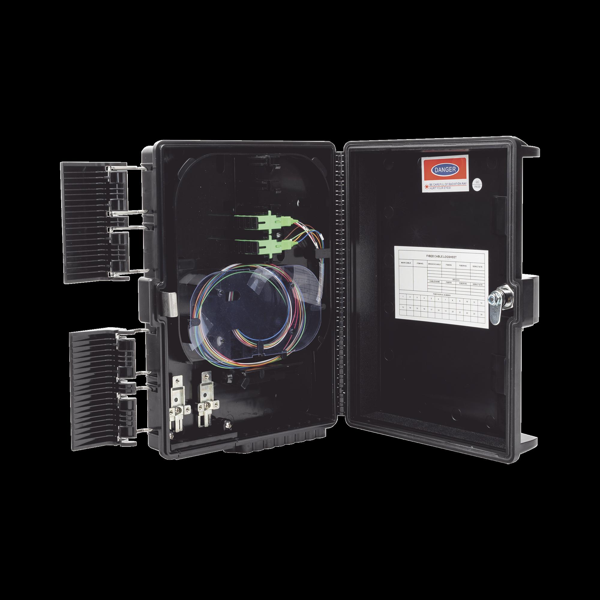 Cierre de Empalme para 24 fusiones de fibra optica, Interior/Exterior, con 8 acopladores SC/APC y splitter 1x8, IP65