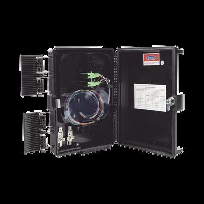 Cierre de Empalme para 24 fusiones de fibra óptica, Interior/Exterior, con 8 acopladores SC/APC y splitter 1x8, IP65