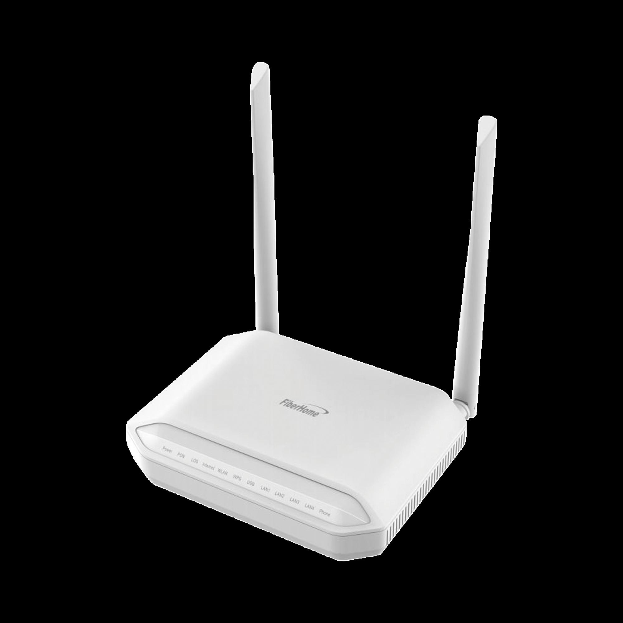ONU GPON, WiFi 2.4 GHz, 2 Puertos Gigabit + 2 Puertos Fast Ethernet, conector SC/UPC