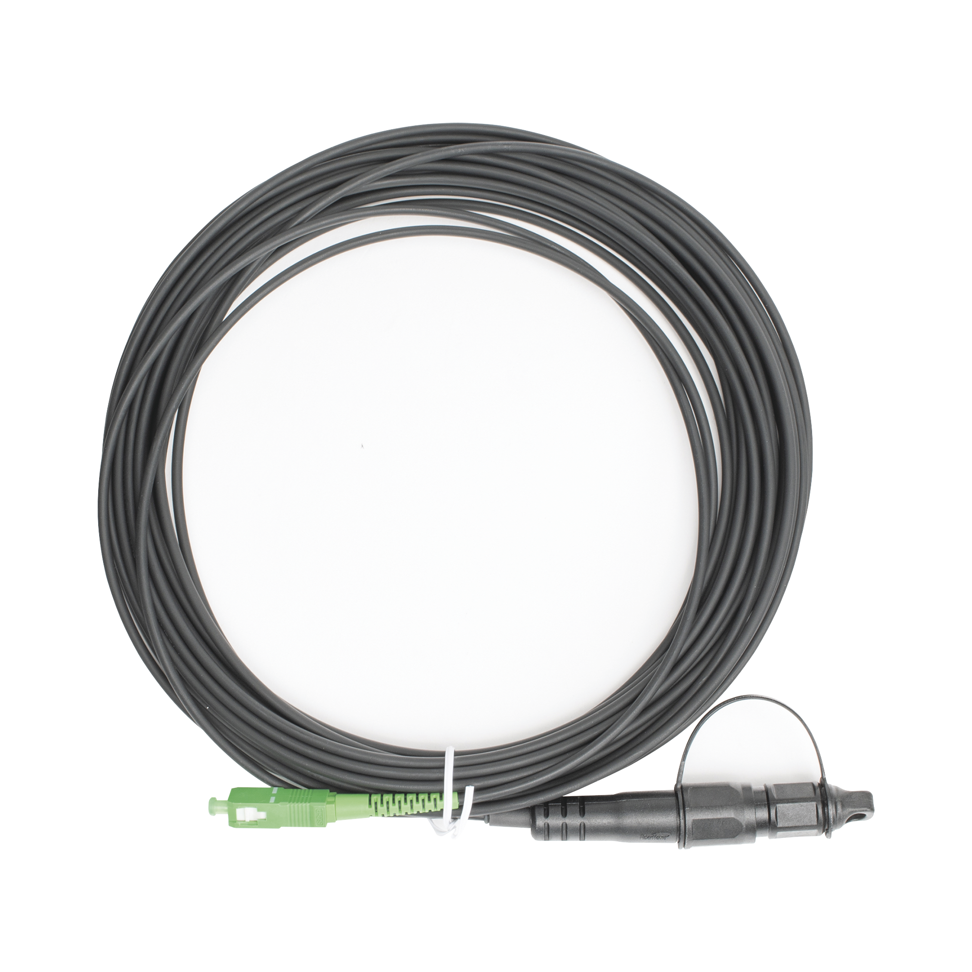 Jumper de Fibra óptica, conector SC/APC - conexión a caja FDP460, redondo, 10 metros, forro 3 mm, G657A2, negro