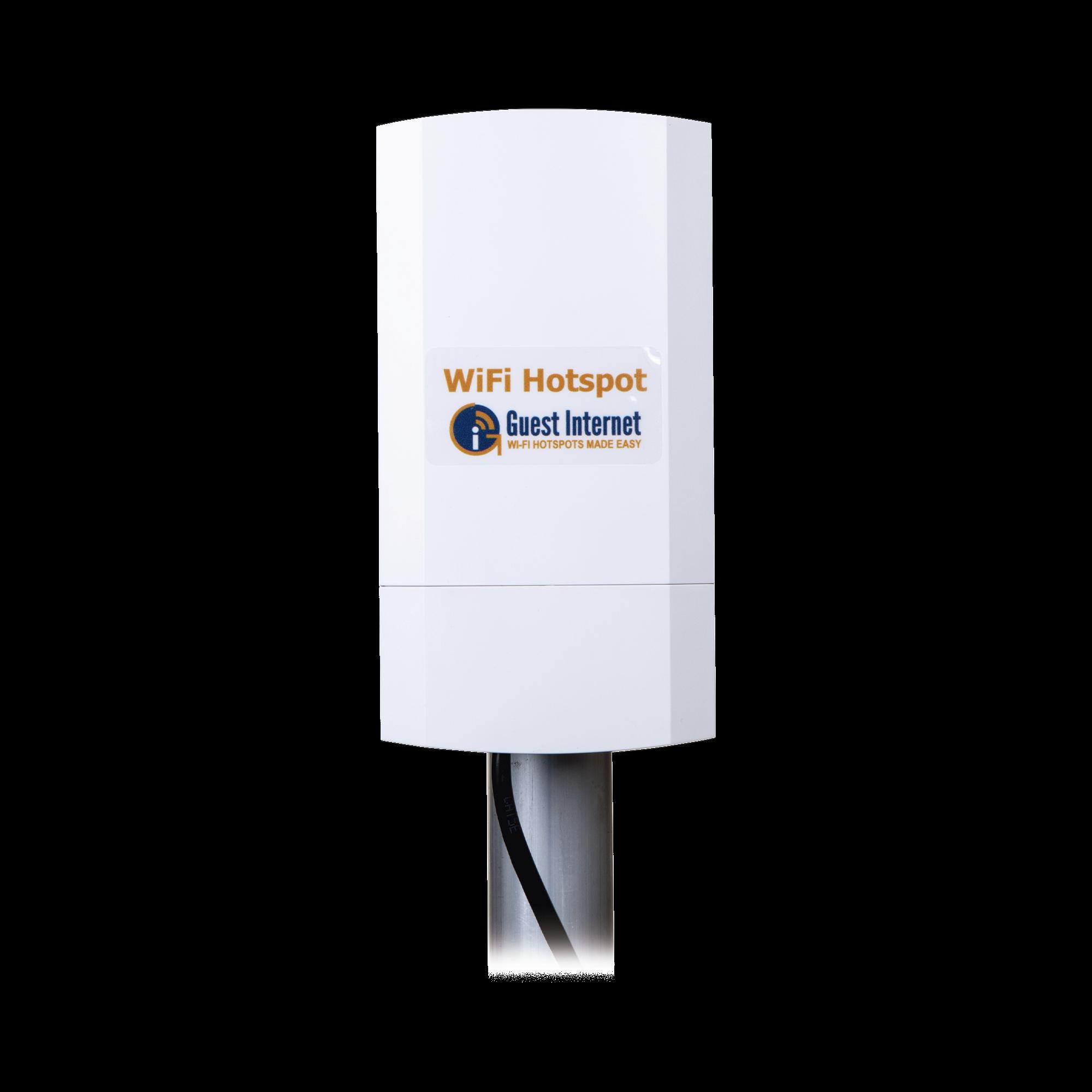 Hotspot inalámbrico 2.4 GHz para exterior, antenas sectorial 8 dBi, Throughput 75 Mbps, ideal para la venta de códigos de acceso a Internet