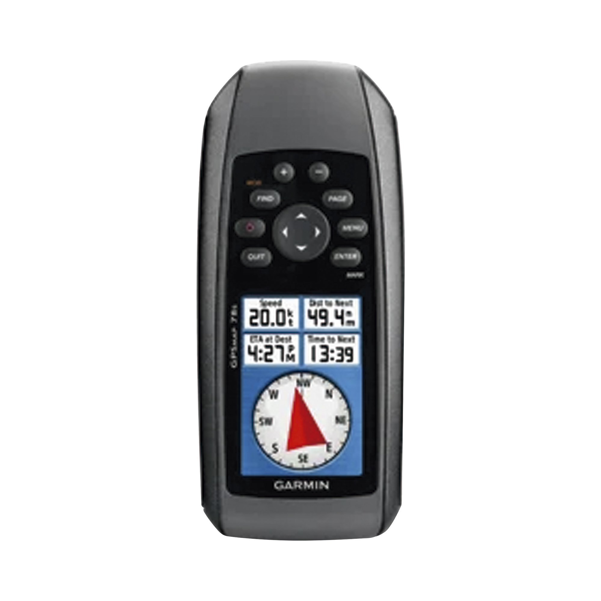 GPS portátil GPSMAP 78S con memoria interna de 1.7 GB, soporta un almacenamiento interno de hasta 2000  puntos de interés, incluye sensor de altímetro barométrico y brújula.