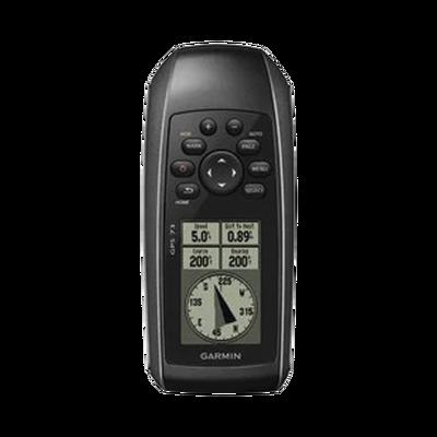 GPS portátil GPSMAP 73 con pantalla de cristal liquido, escala de 4 niveles de gris, hasta mil puntos de almacenamiento interno, sumergible y flotante.