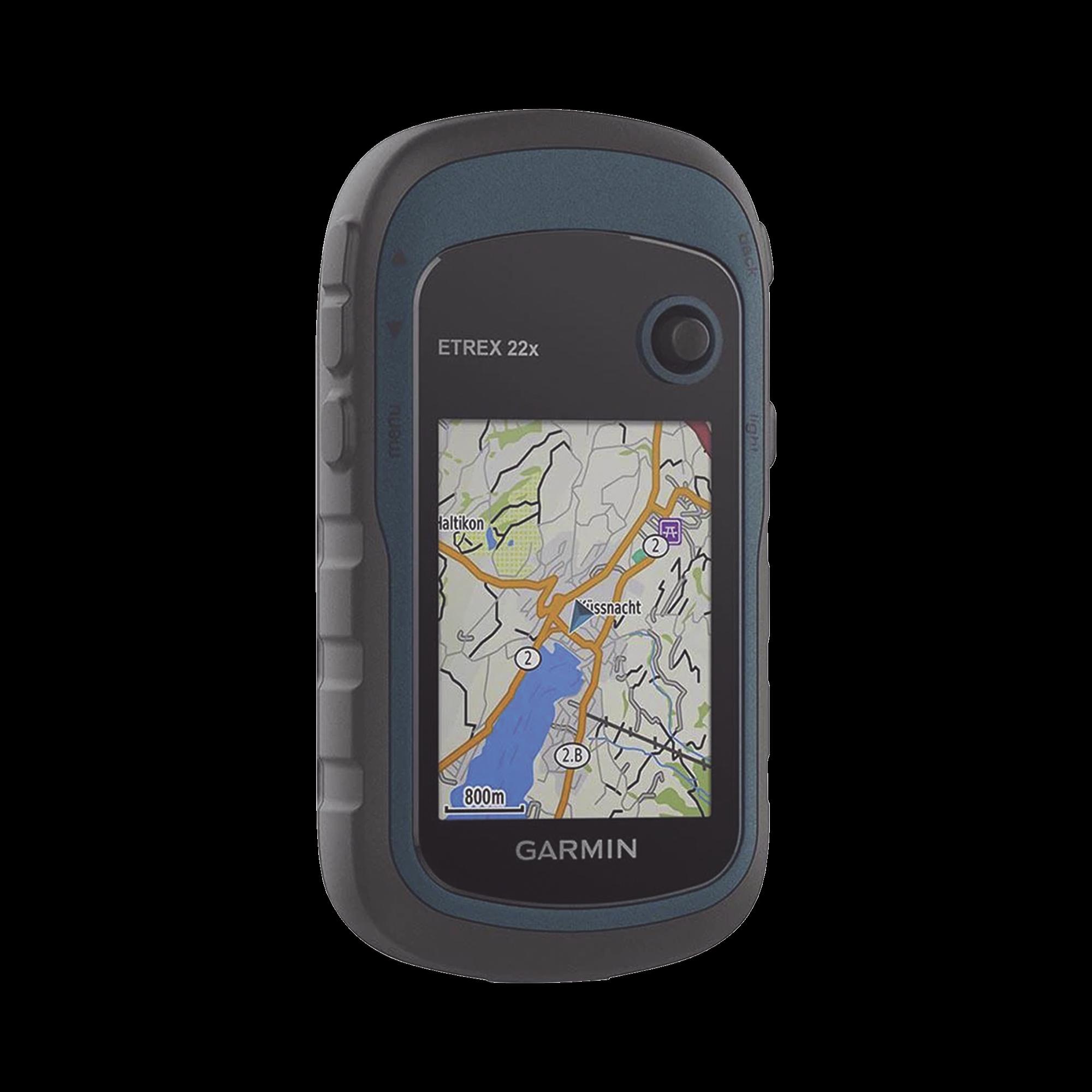 GPS portátil eTrex22 con mapa base precargado, almacena hasta 2000 puntos de interés, cuenta con sensor de GPS, calculo de áreas.