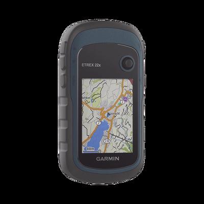 GPS portátil eTrex22 con mapa base precargado, almacena hasta 2000 puntos de interés, e incluye función de cálculo de áreas.