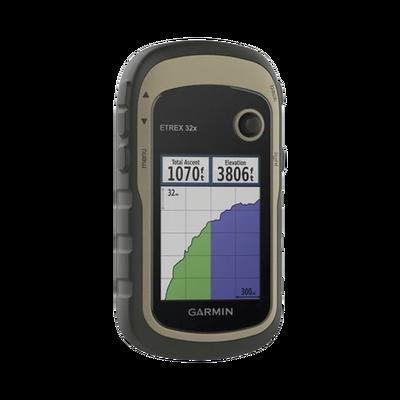 """GPS portátil eTrex 32x con memoria interna de 8 GB, pantalla de 2.2"""" a color, con mapa topográfico de carreteras y senderos incluido."""