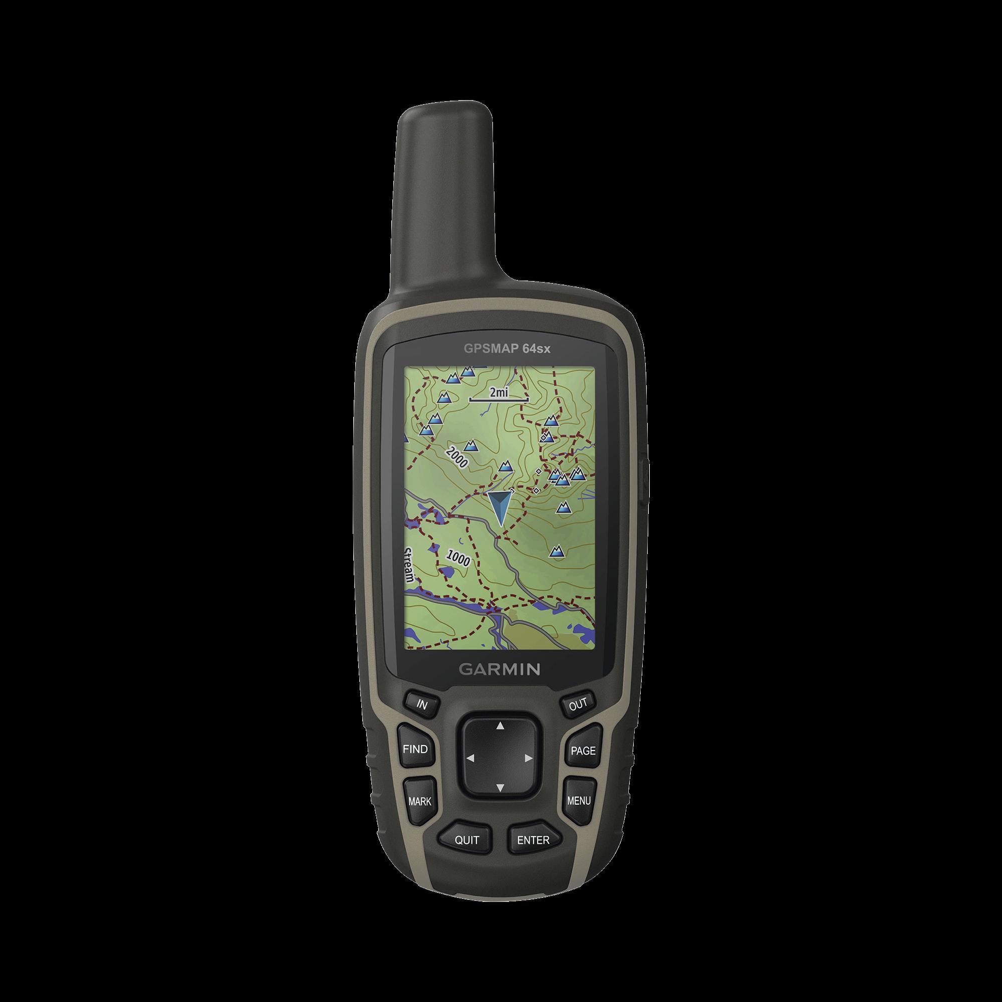 GPS portátil GPSMAP 64SX, cuenta con sensores de navegación, altímetro, brújula y cálculo de áreas.