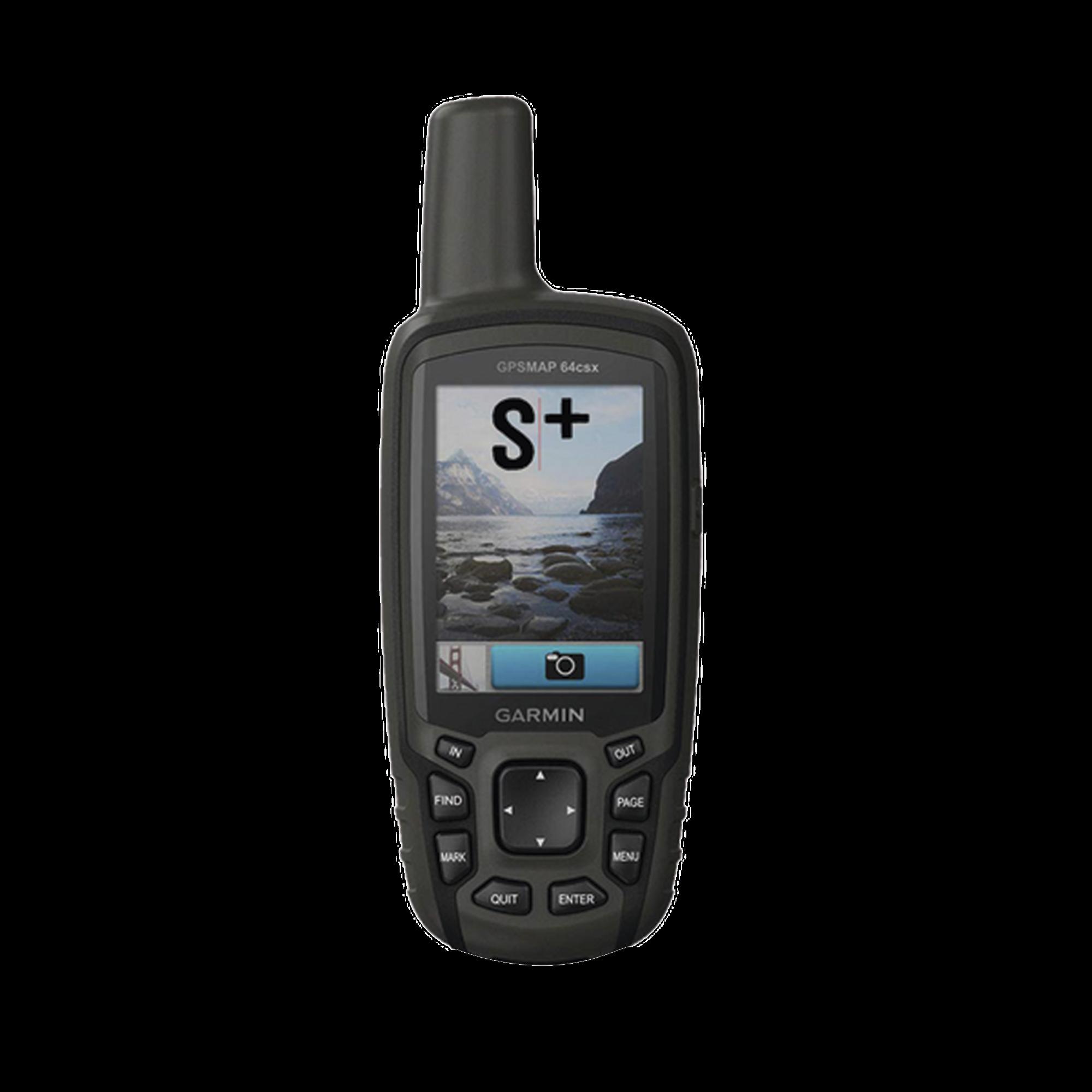 GPSMAP 64CSX, GPS portátil con cámara integrada de 8 megapíxeles, altímetro y bújala integrada.