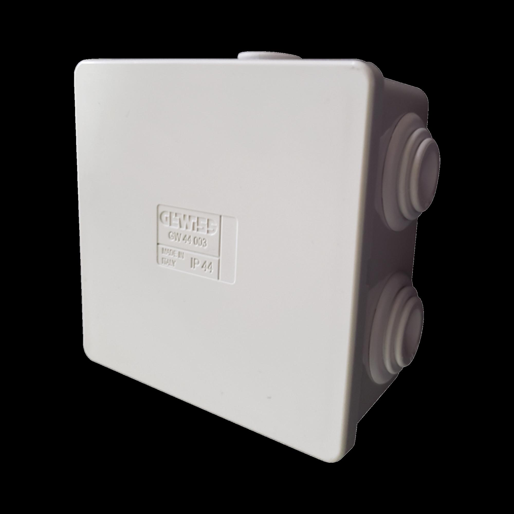 Caja de derivación de PVC Autoextinguible con 6 entradas, tapa a presión, 80x80x40 MM (Medidas internas, mayor área permisible para el cable, Para instalación al exterior (IP44)