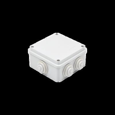 Caja de derivación de PVC Auto-extinguible con 6 entradas, tapa atornillada, 100x100x50 MM, (Medidas internas, mayor área permisible para e cable, Para exterior (IP55)