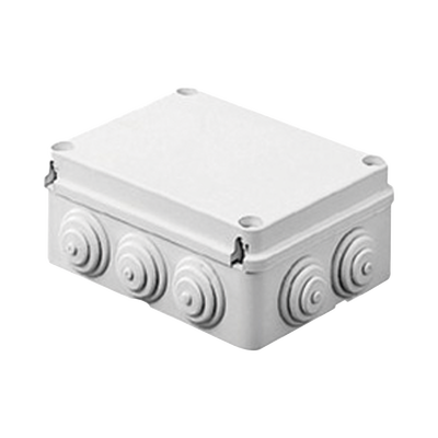 Caja de derivación de PVC Auto-extinguible con 12 entradas, tapa atornillada, 380x300x120 MM, Para Exterior (IP55)