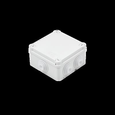"""Caja de derivación de PVC Auto-extinguible con 6 entradas, tapa y tornillo de media vuelta de 1/4"""", 100x100x50 MM (Medidas internas, mayor área permisible para el cable, Para exterior (IP55)"""
