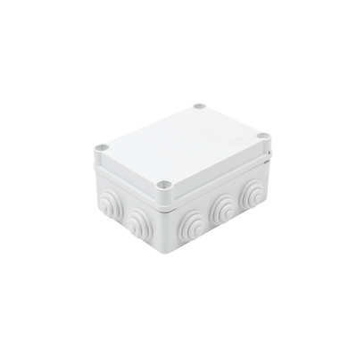 "Caja de derivación de PVC Auto-Extinguible con 10 entradas, tapa y tornillo de media vuelta de 1/4"", 150x110x70 MM, Para Exterior (IP55)"