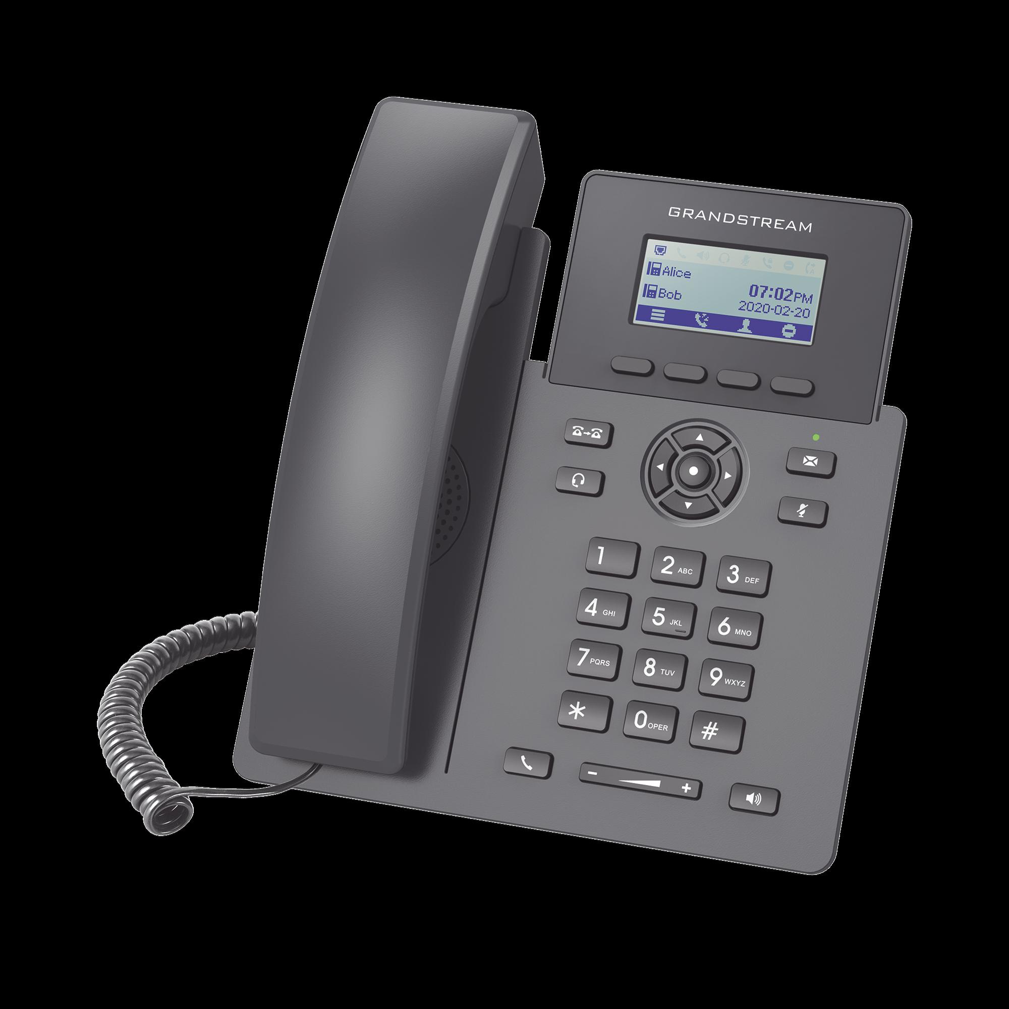 Teléfono IP Grado Operador, 2 lineas SIP con 2 cuentas, PoE, codec Opus, IPV4/IPV6 con gestion en la nube GDMS