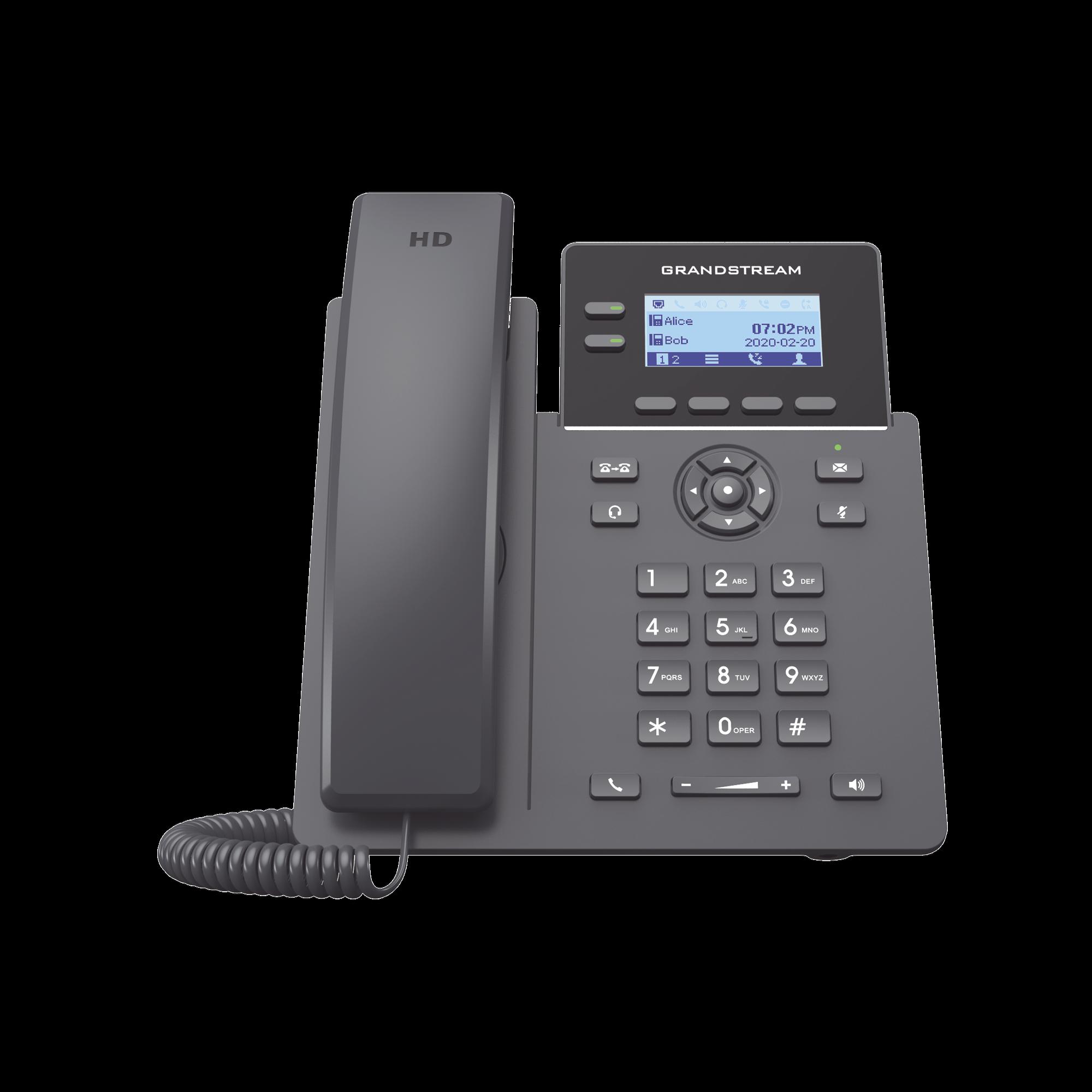 Teléfono IP Grado Operador, 2 lineas SIP con 4 cuentas, PoE, codec Opus, IPV4/IPV6 con gestion en la nube GDMS