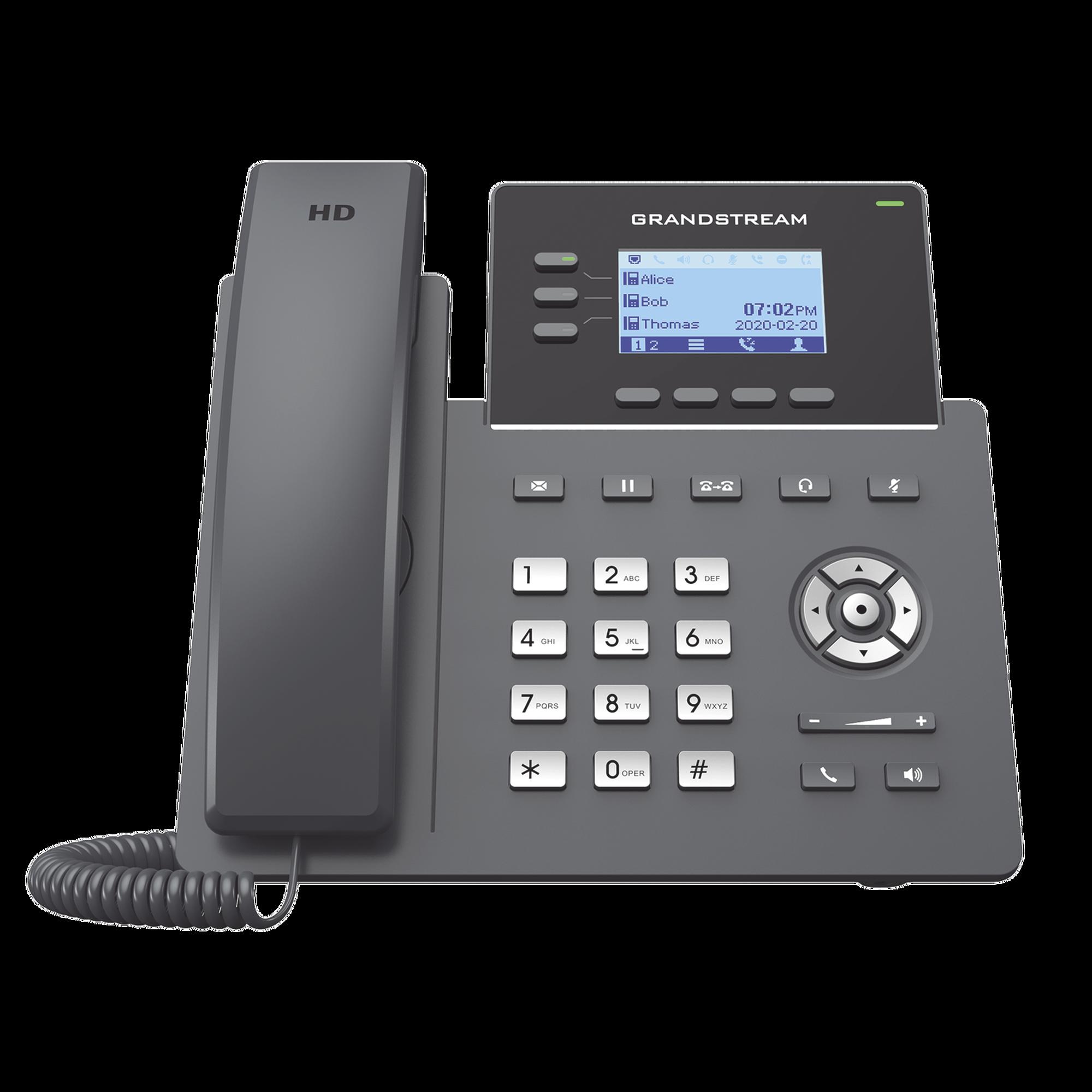 Teléfono IP Grado Operador, 3 líneas SIP con 6 cuentas, puertos Gigabit PoE, codec Opus, IPV4/IPV6 con gestión en la nube GDMS