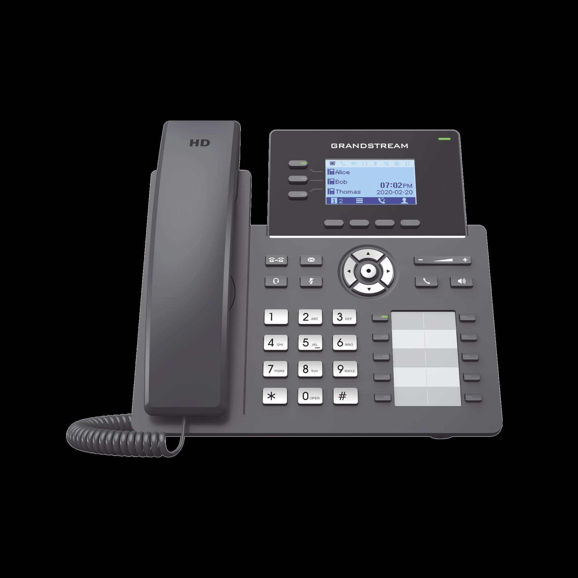 Teléfono IP Grado Operador, 3 lineas SIP con 6 cuentas, 10 botones BLF, puertos Gigabit PoE, codec Opus, IPV4/IPV6 con gestion en la nube GDMS