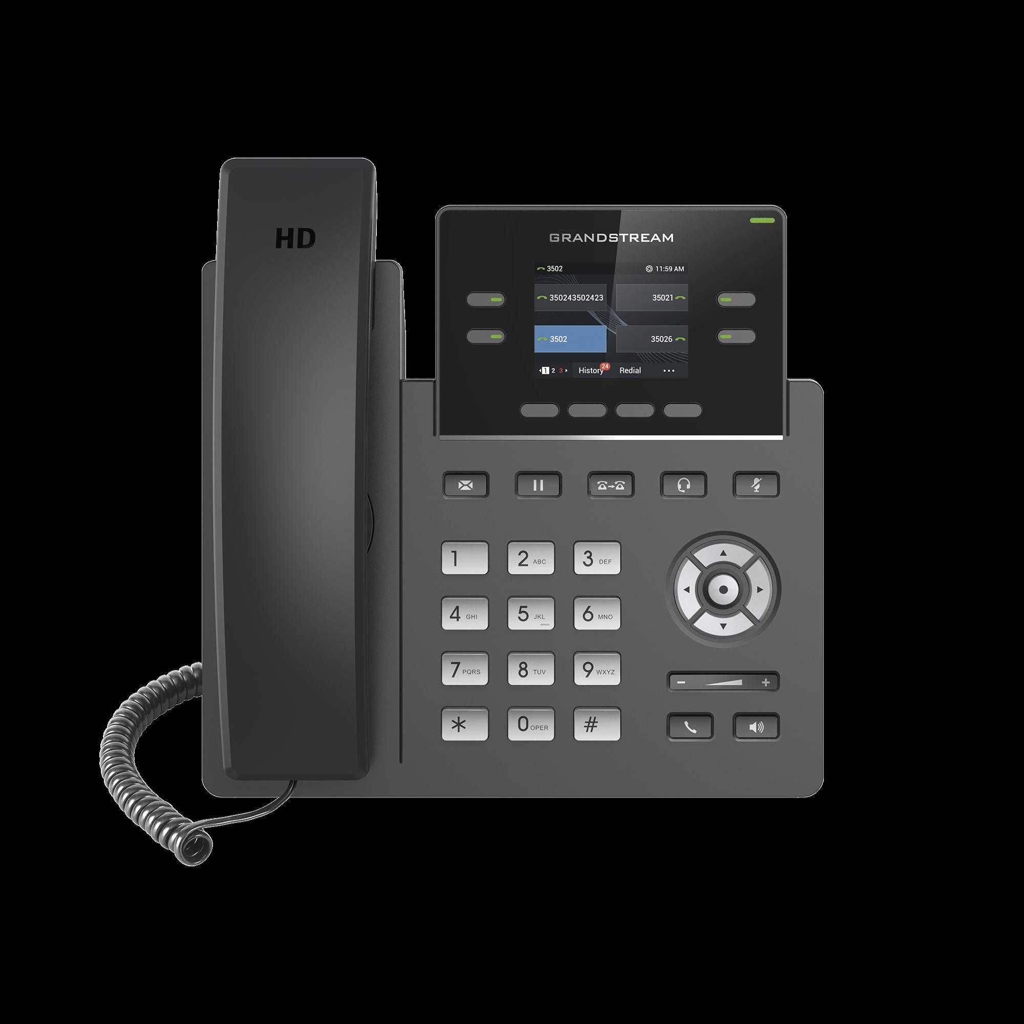Teléfono IP con puerto PoE de 2 líneas para alta demanda de Grado Operador