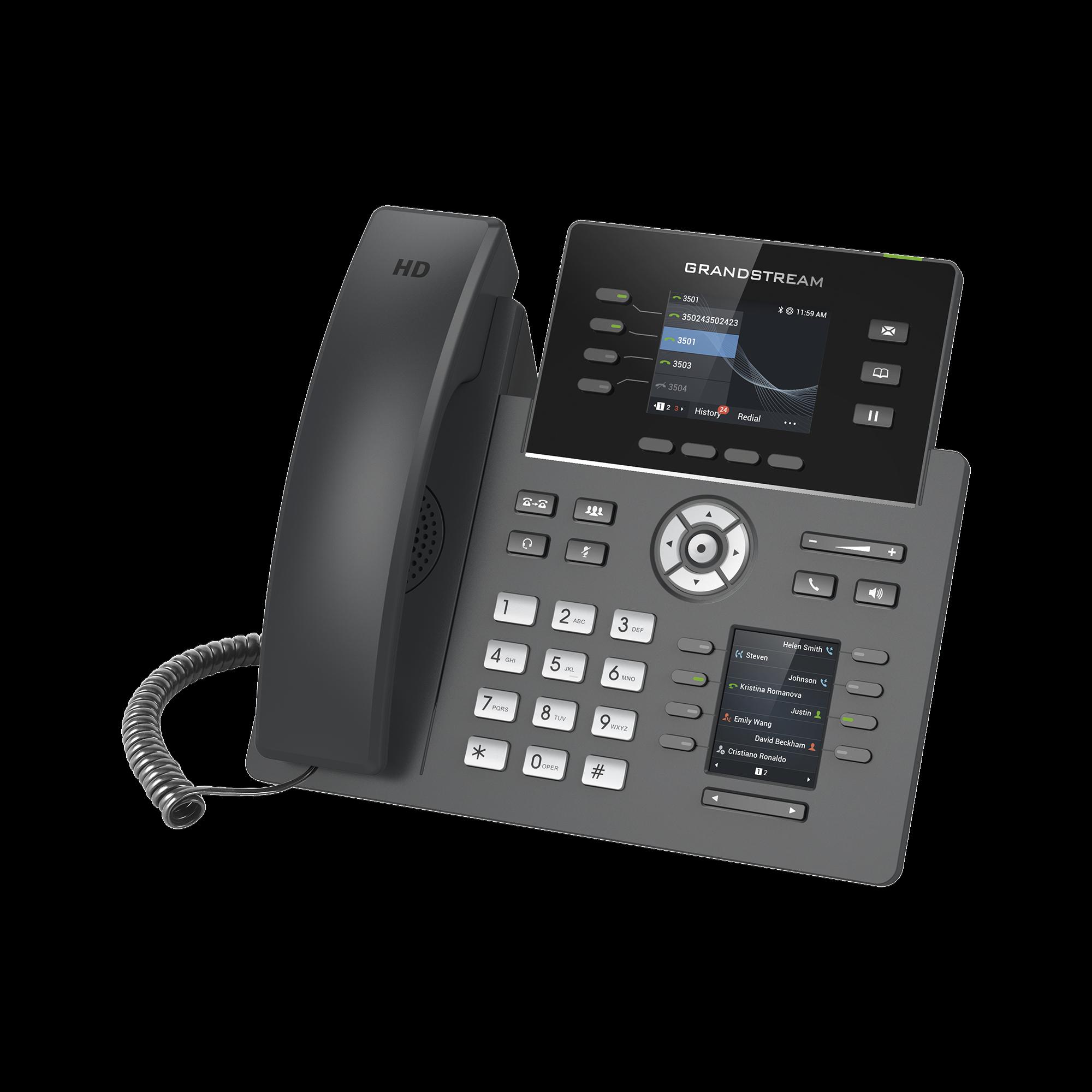 Teléfono IP de 4 líneas para alta demanda, grado operador, con botones BLF en display LCD