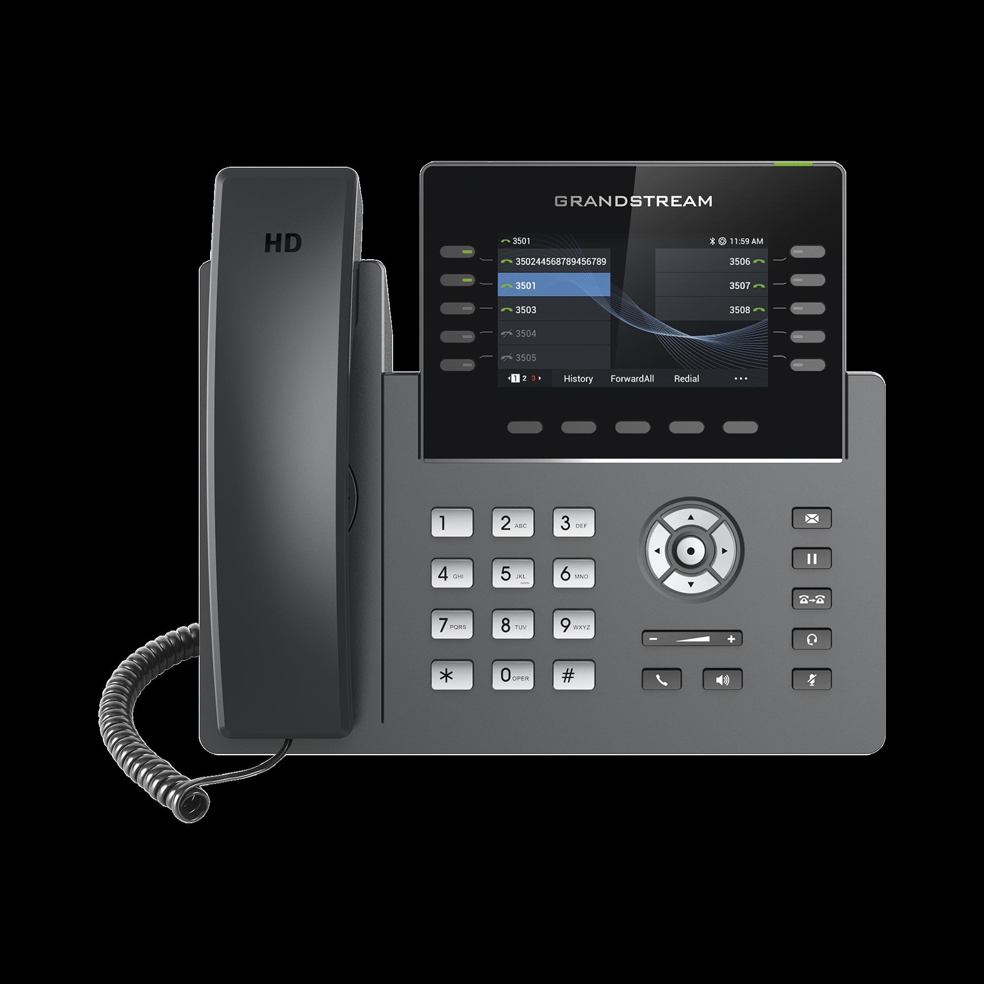 Teléfono IP Wi-Fi, Grado Operador, 10 líneas SIP con 5 cuentas, pantalla a color 2.8, puertos Gigabit, Bluetooth, PoE, codec Opus, IPV4/IPV6 con gestión en la nube GDMS