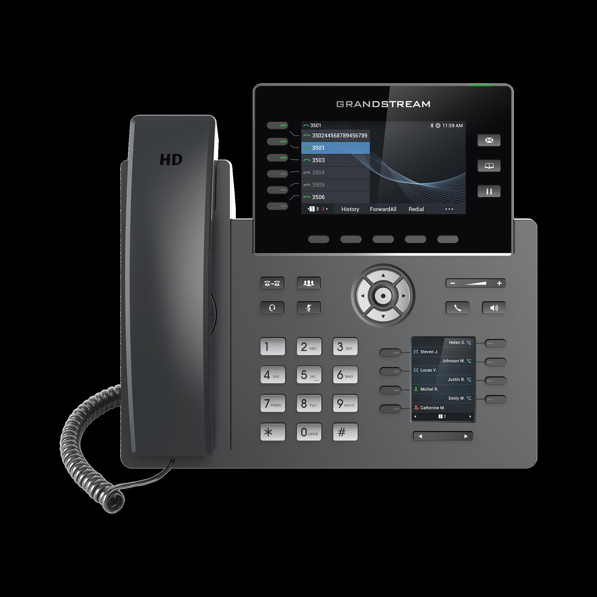 Teléfono IP Wi-Fi, Grado Operador, 6 líneas SIP con 6 cuentas, pantalla a color 2.8, puertos Gigabit, Bluetooth, PoE, codec Opus, IPV4/IPV6 con gestión en la nube GDMS