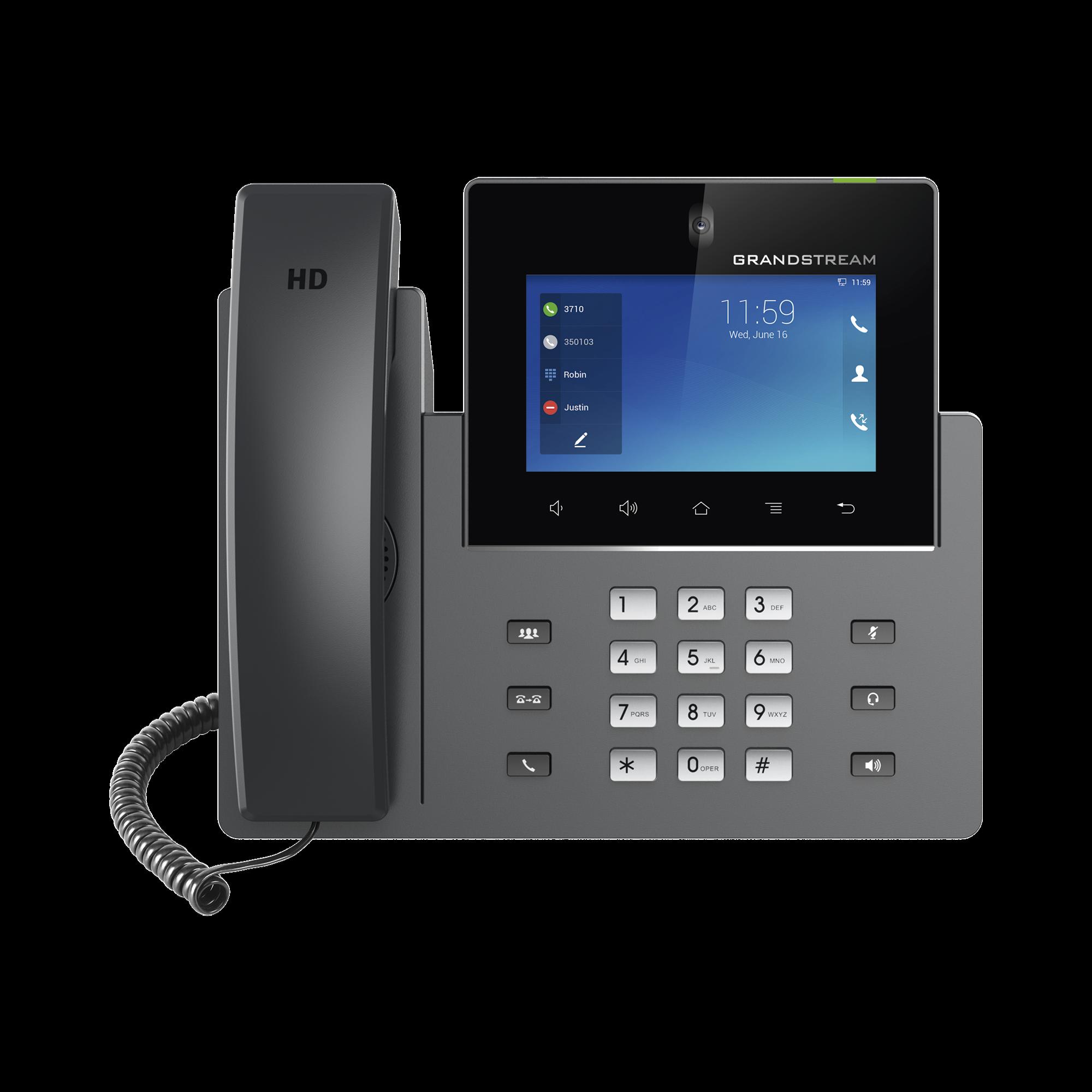 Videoteléfono IP pantalla táctil con android de 16 líneas, doble puerto Gigabit, PoE/PoE+